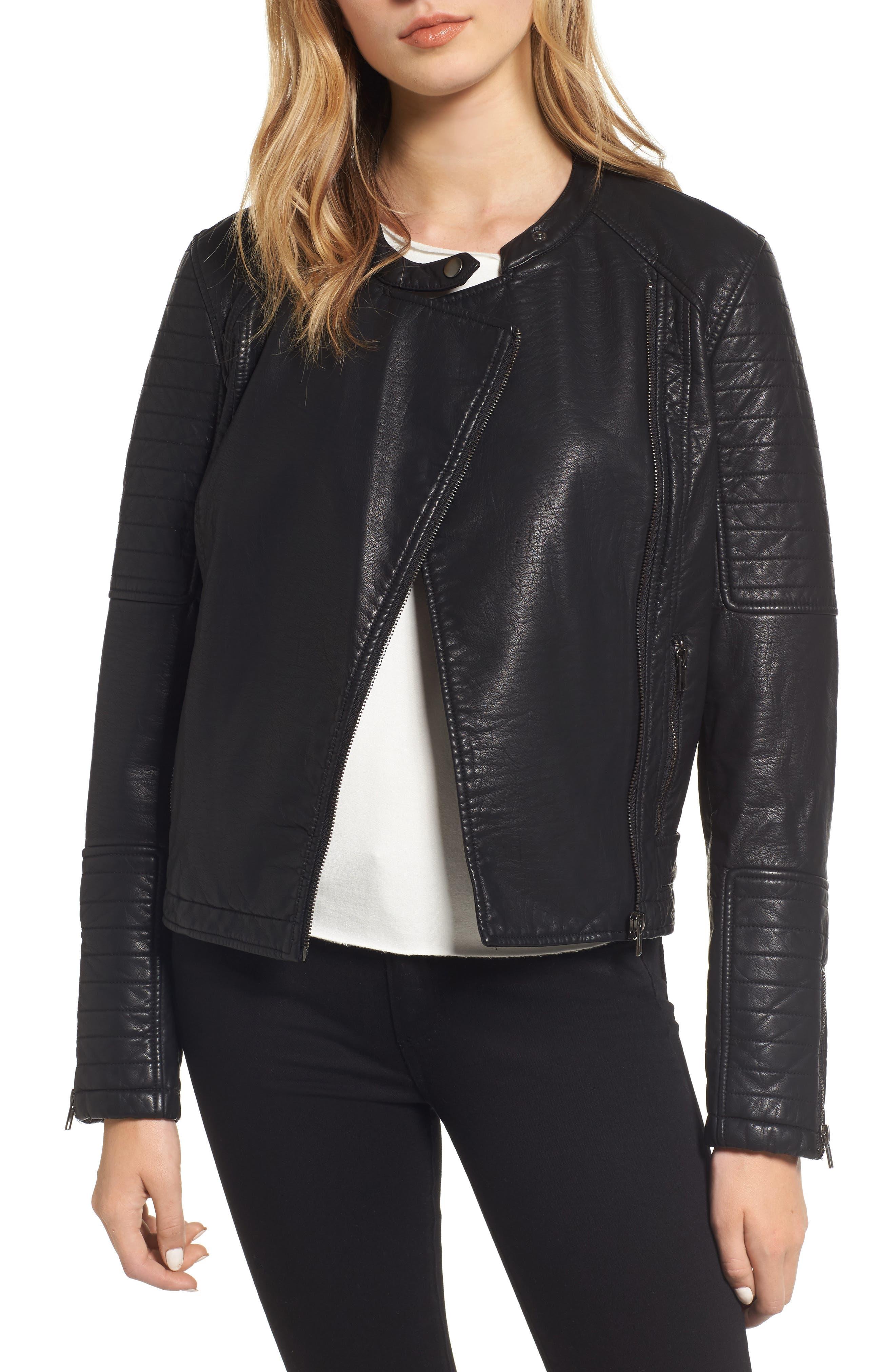 Ezmerelda Faux Leather Moto Jacket,                             Main thumbnail 1, color,                             Black
