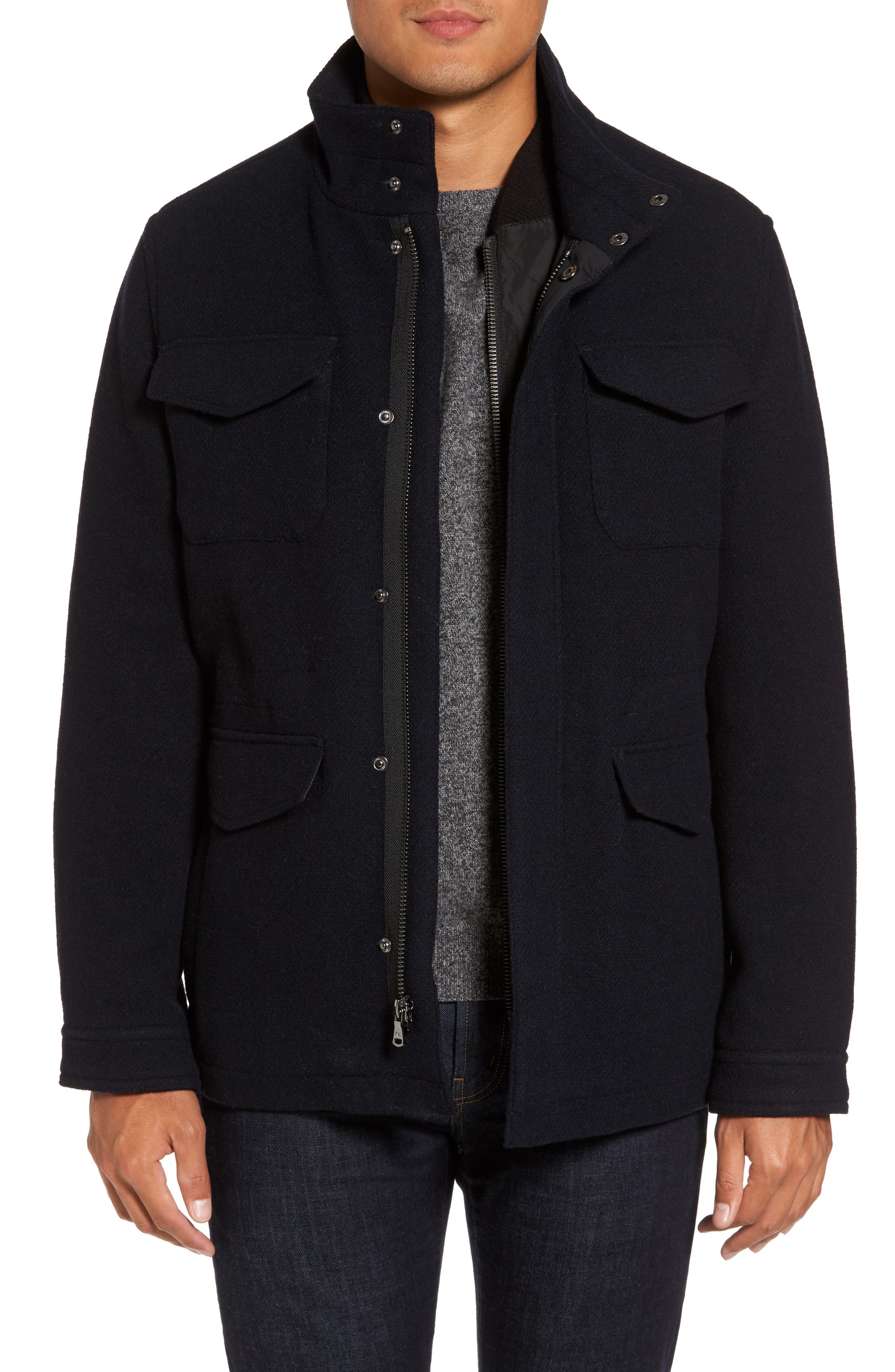 Regular Fit Double Layer Field Jacket,                             Main thumbnail 1, color,                             Off Navy / Black