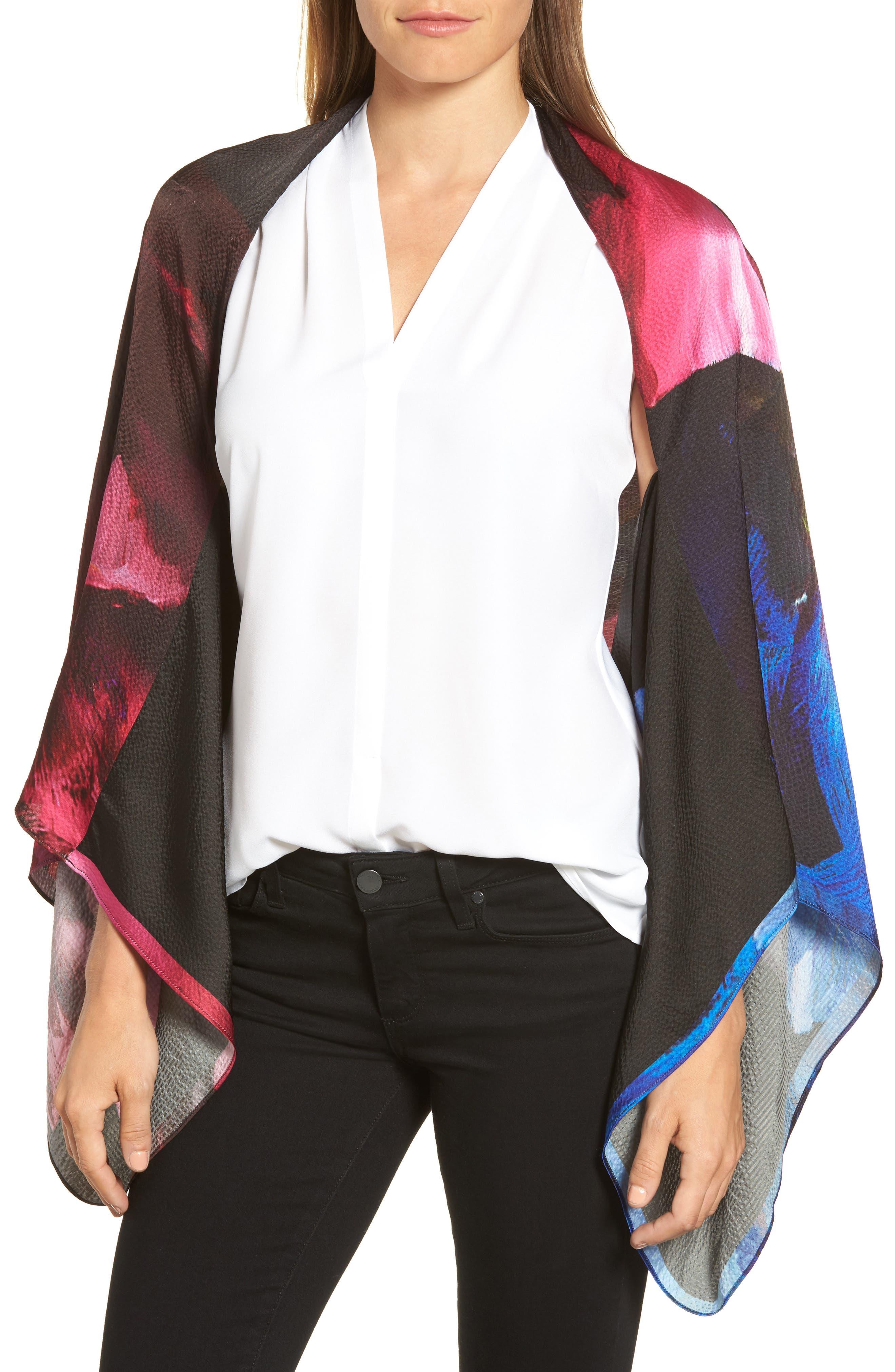 Impressionist Bloom Silk Cape Scarf,                             Main thumbnail 1, color,                             Black