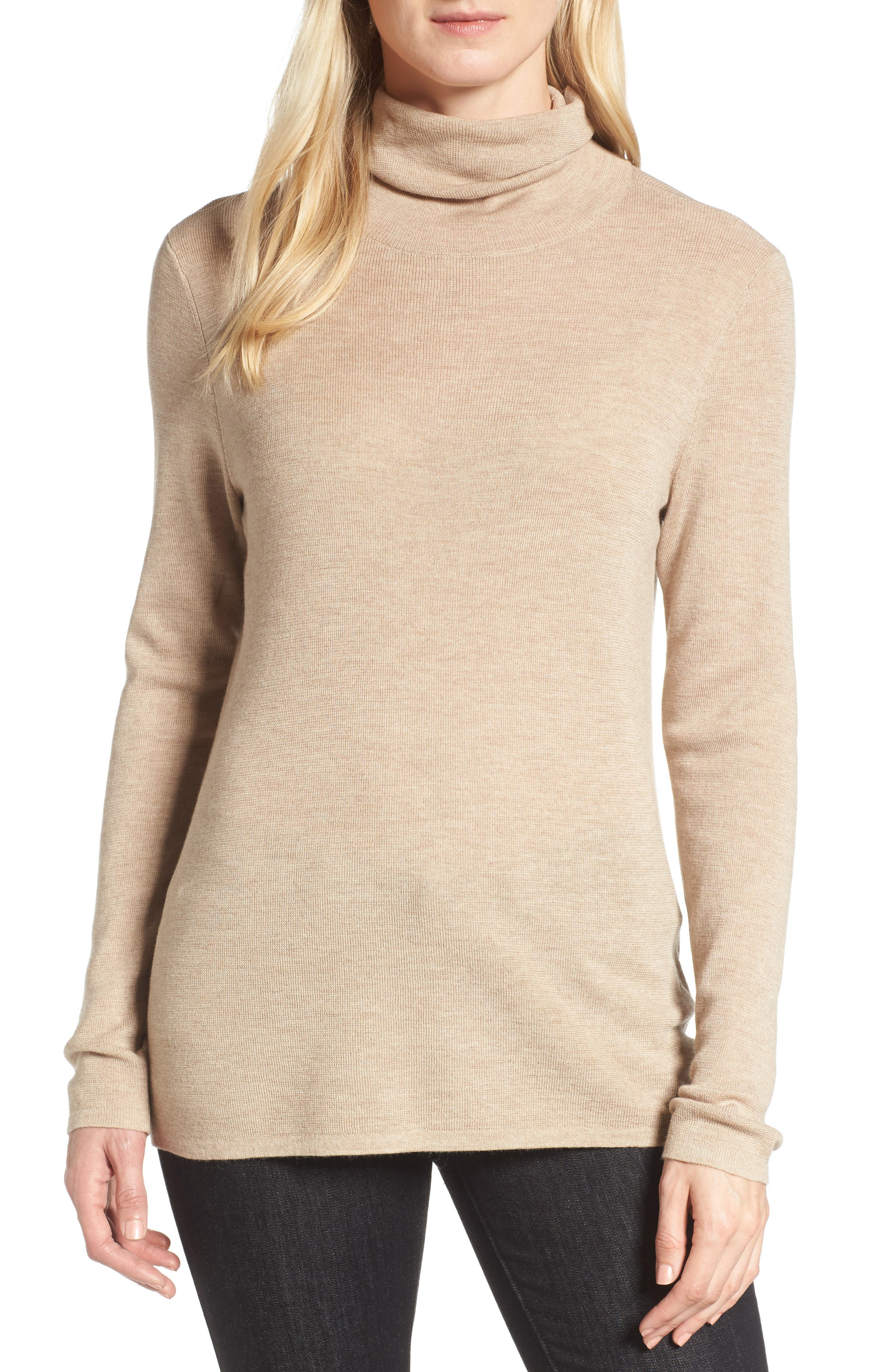 The Fisher Project Ultrafine Merino Turtleneck Sweater,                             Main thumbnail 1, color,                             Maple Oat