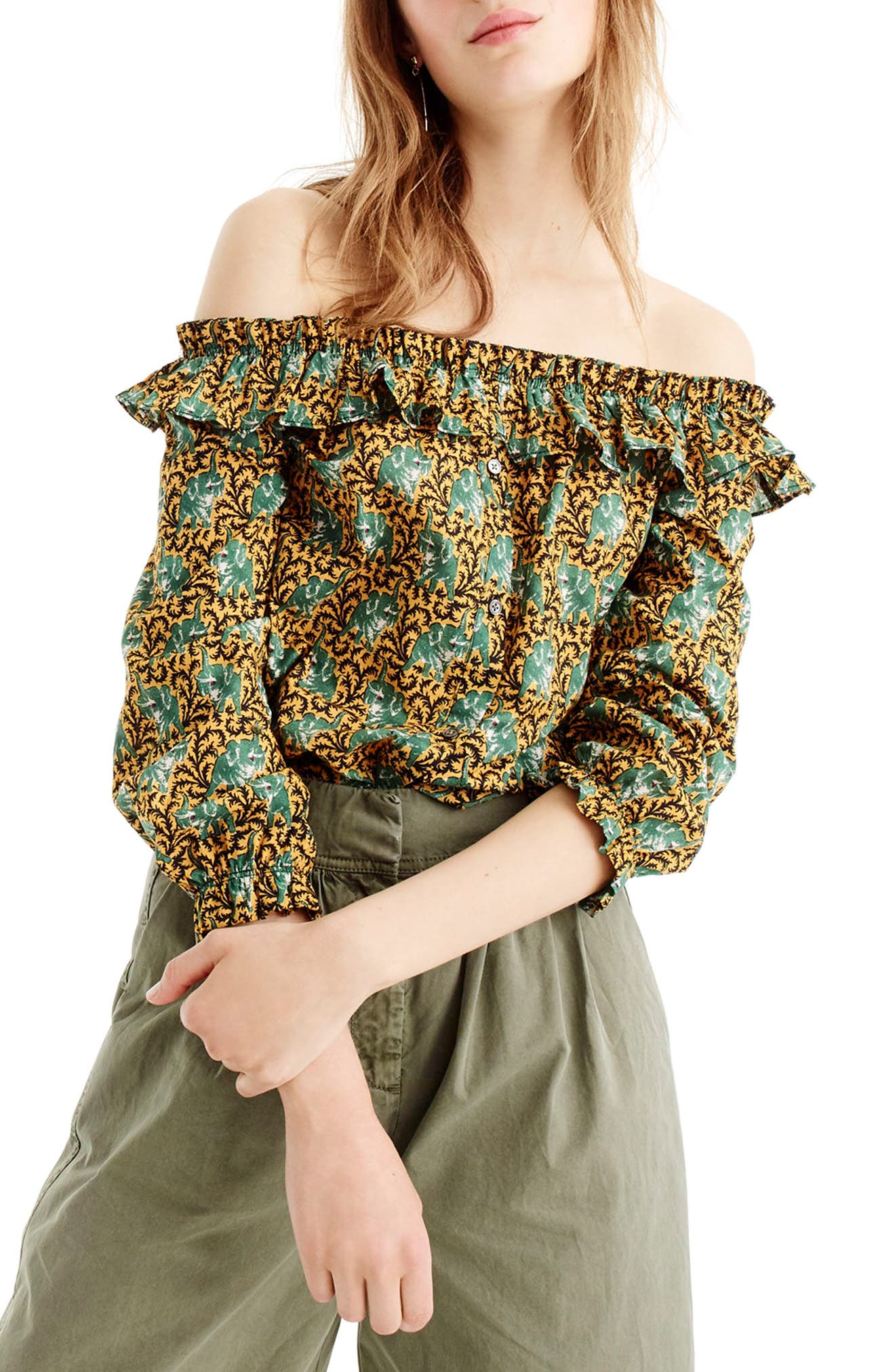 Elephant Print Off the Shoulder Top,                         Main,                         color, Dark Curry