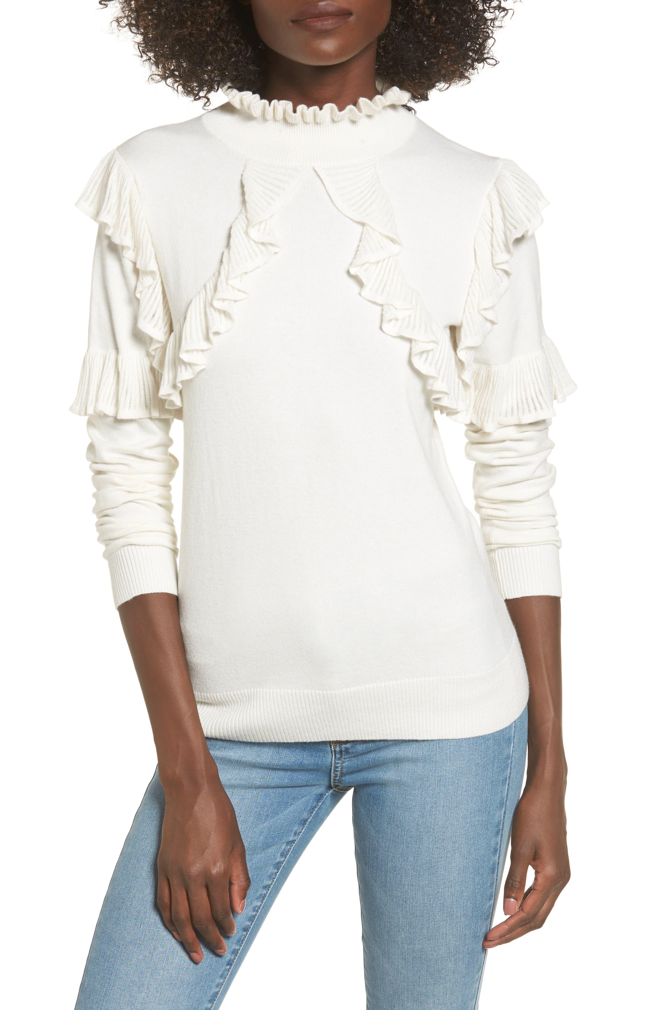 Ruffle Trim Sweater,                         Main,                         color, Ivory Egret