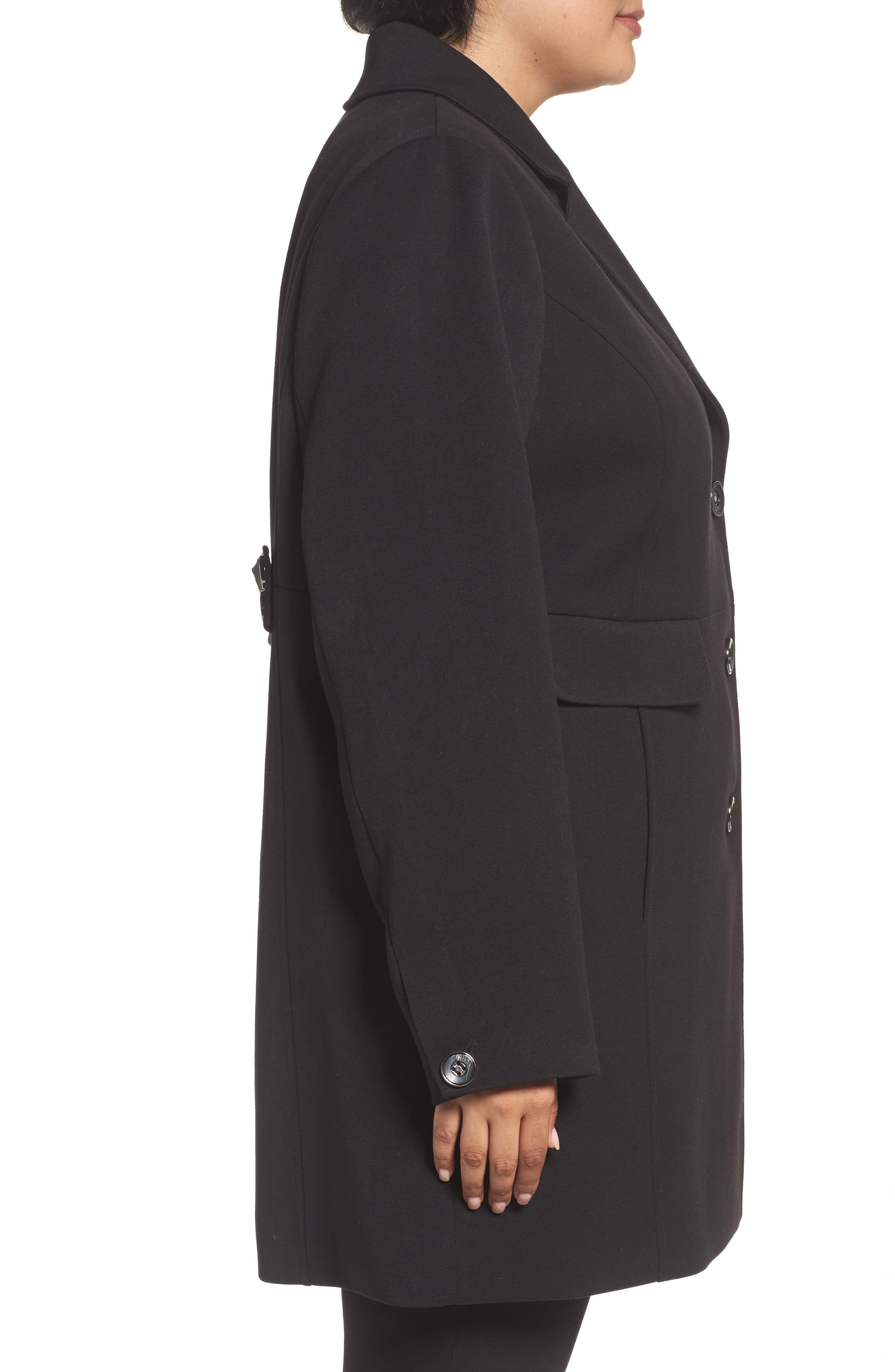 Single Breasted Ponte Coat,                             Alternate thumbnail 3, color,                             Black