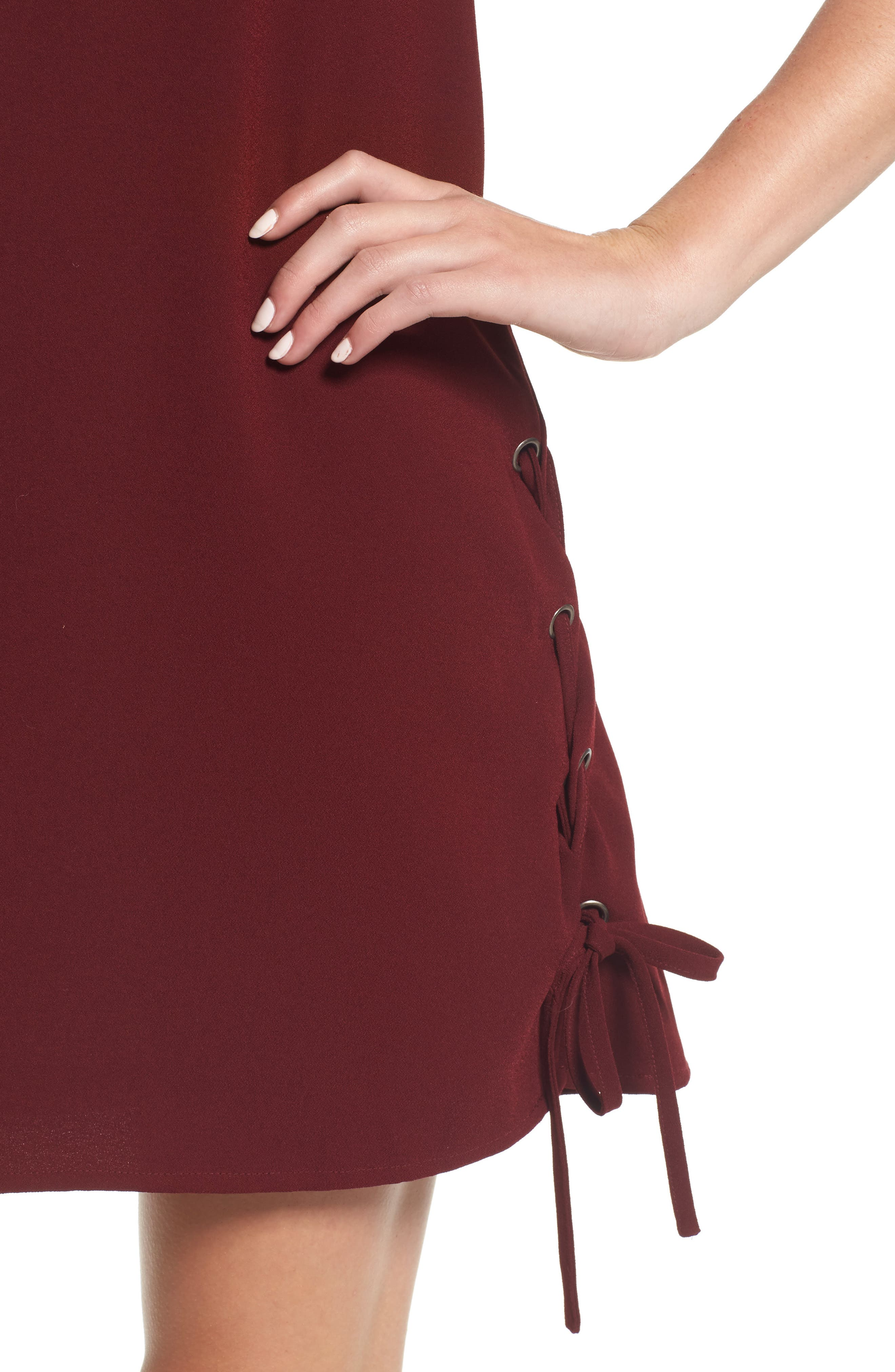 Timberly Lace-Up Shift Dress,                             Alternate thumbnail 4, color,                             Port