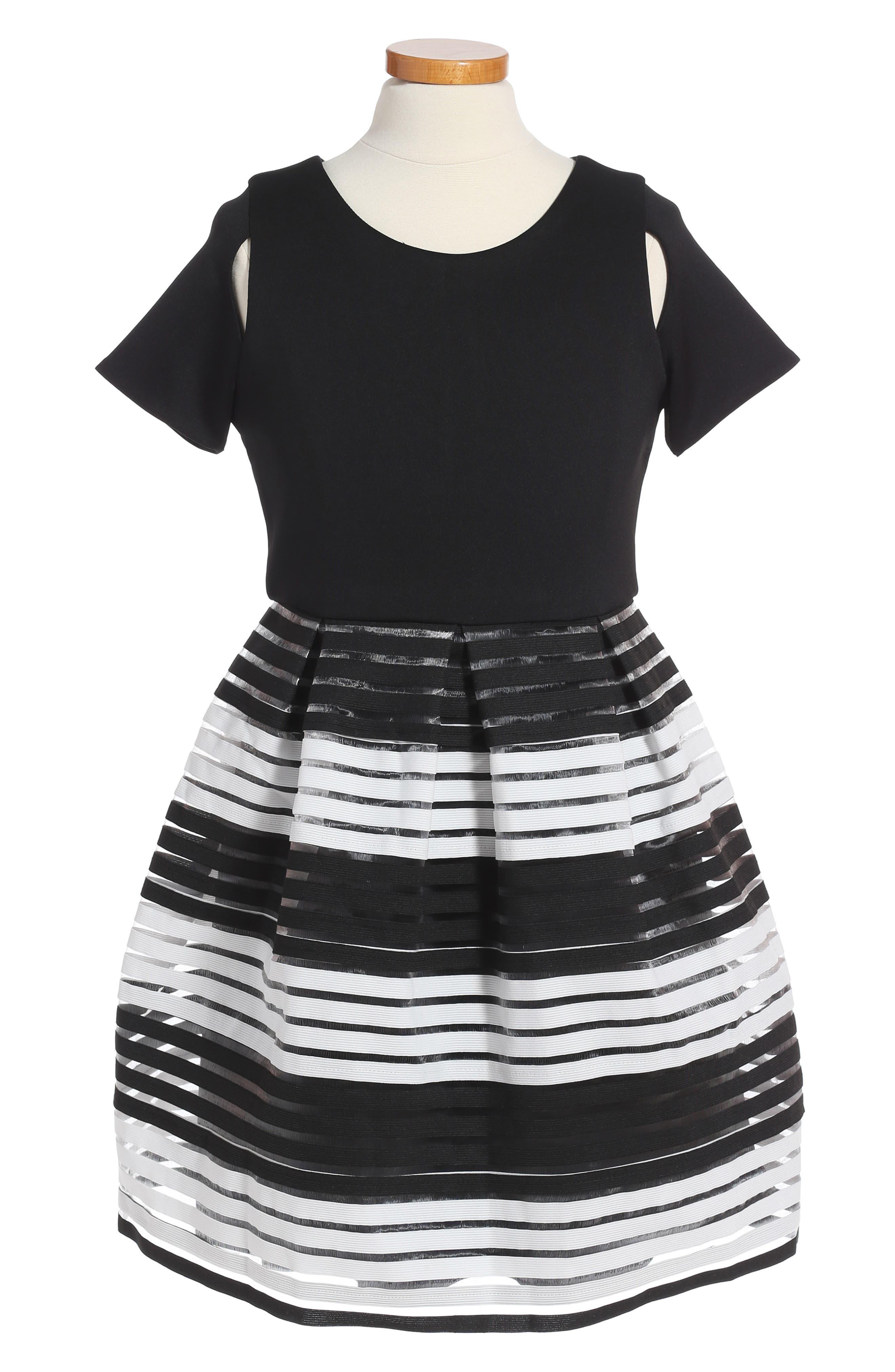 Elastic Stripe Dress,                         Main,                         color, Black