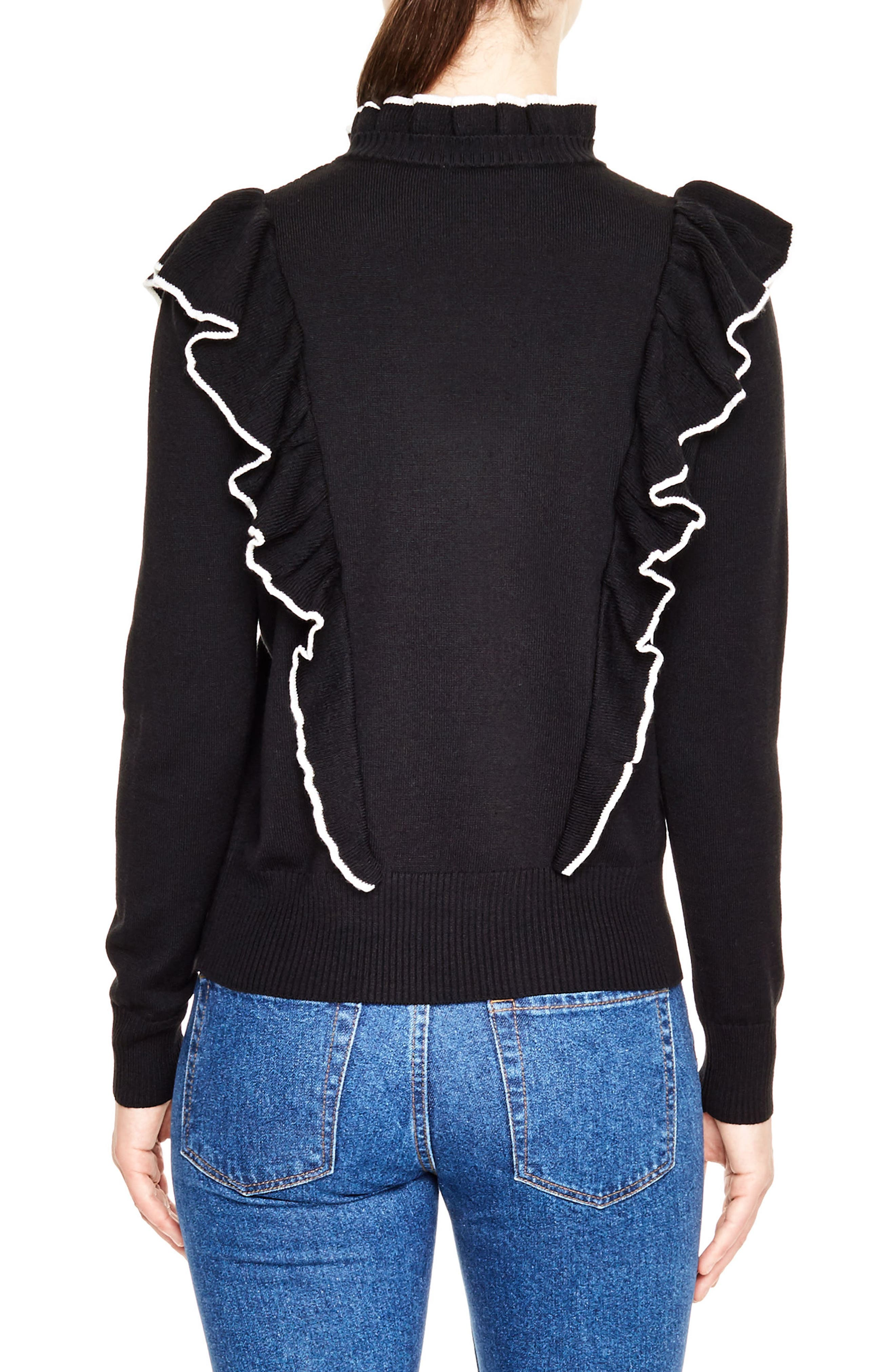 Alternate Image 2  - sandro Ruffle Turtleneck Sweater