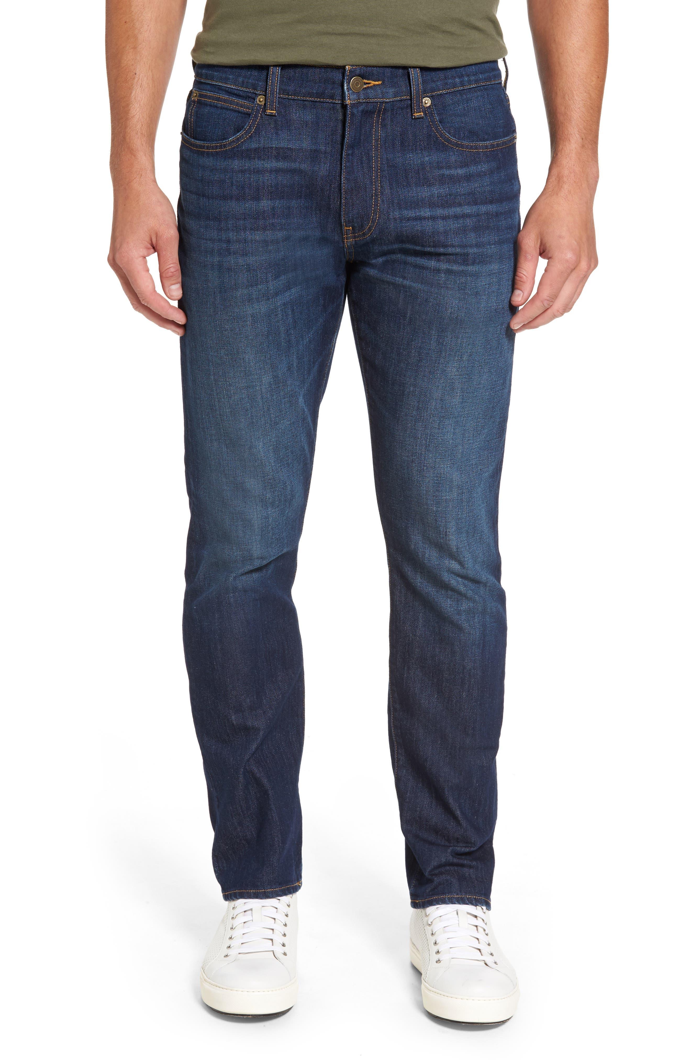 Slim Straight Leg Jeans,                             Main thumbnail 1, color,                             Hull Blue