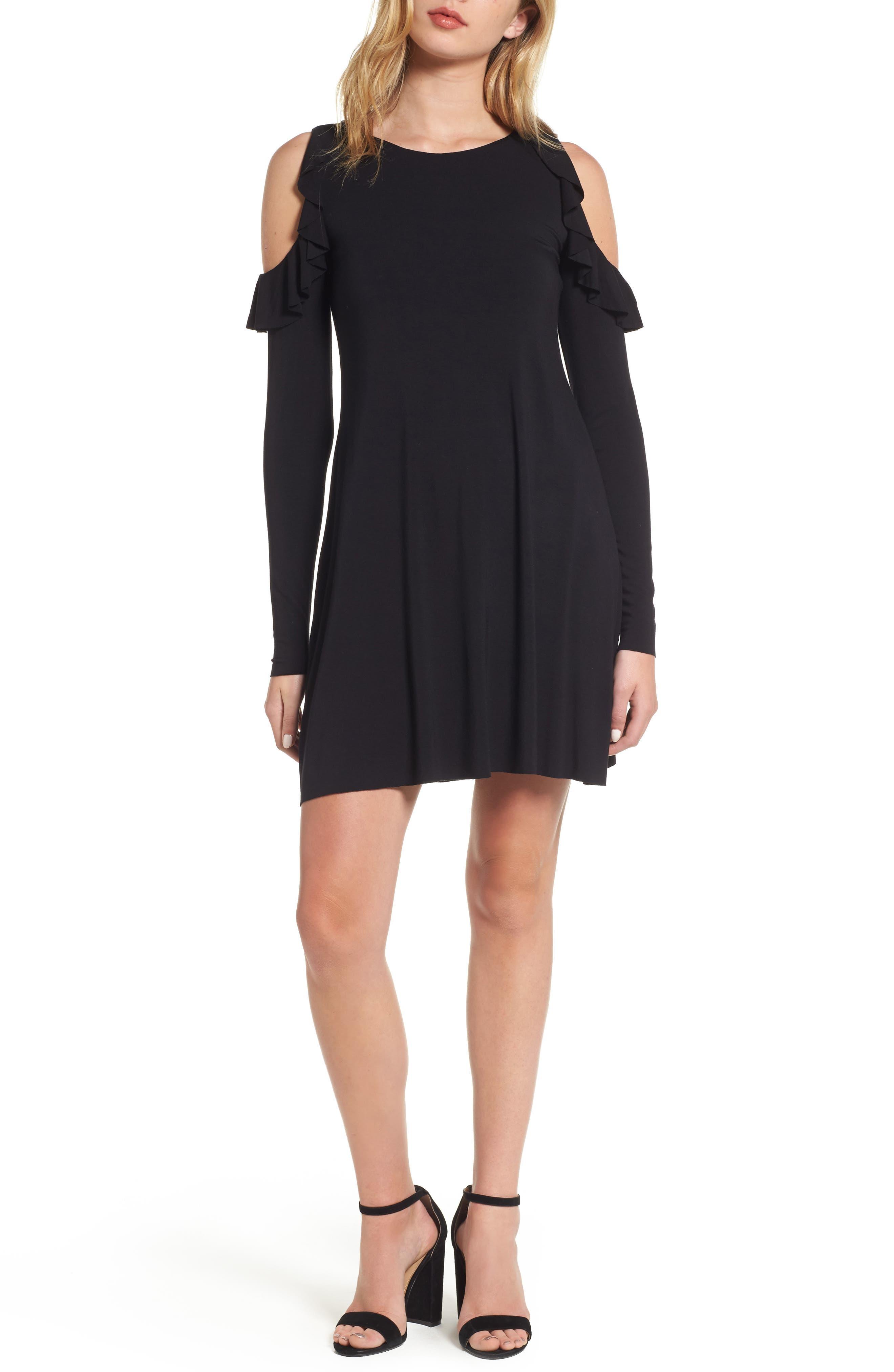 Mirror Mirror Cold Shoulder A-Line Dress,                         Main,                         color, Black
