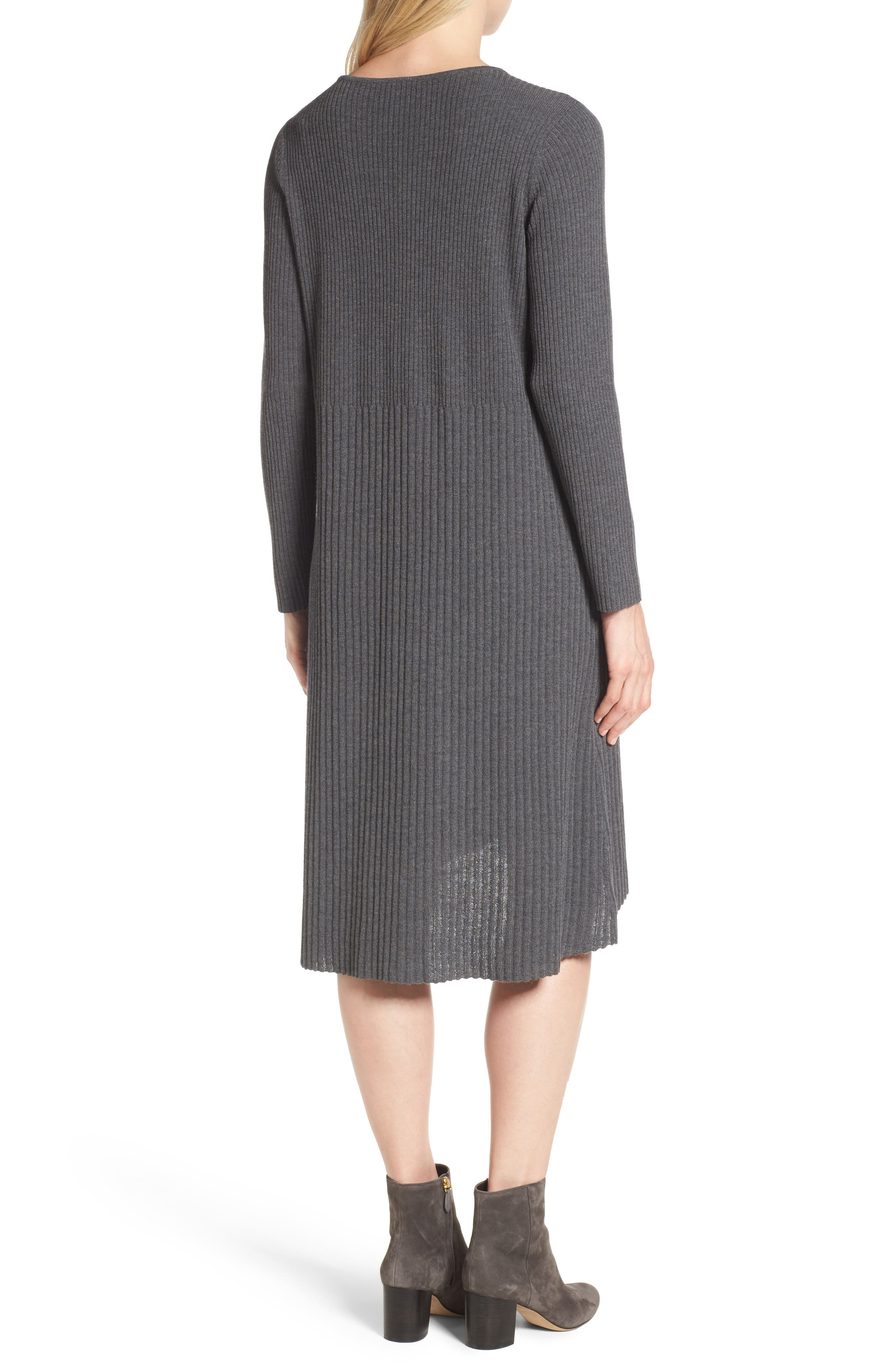 Ribbed Wool Sweater Dress,                             Alternate thumbnail 2, color,                             Bark