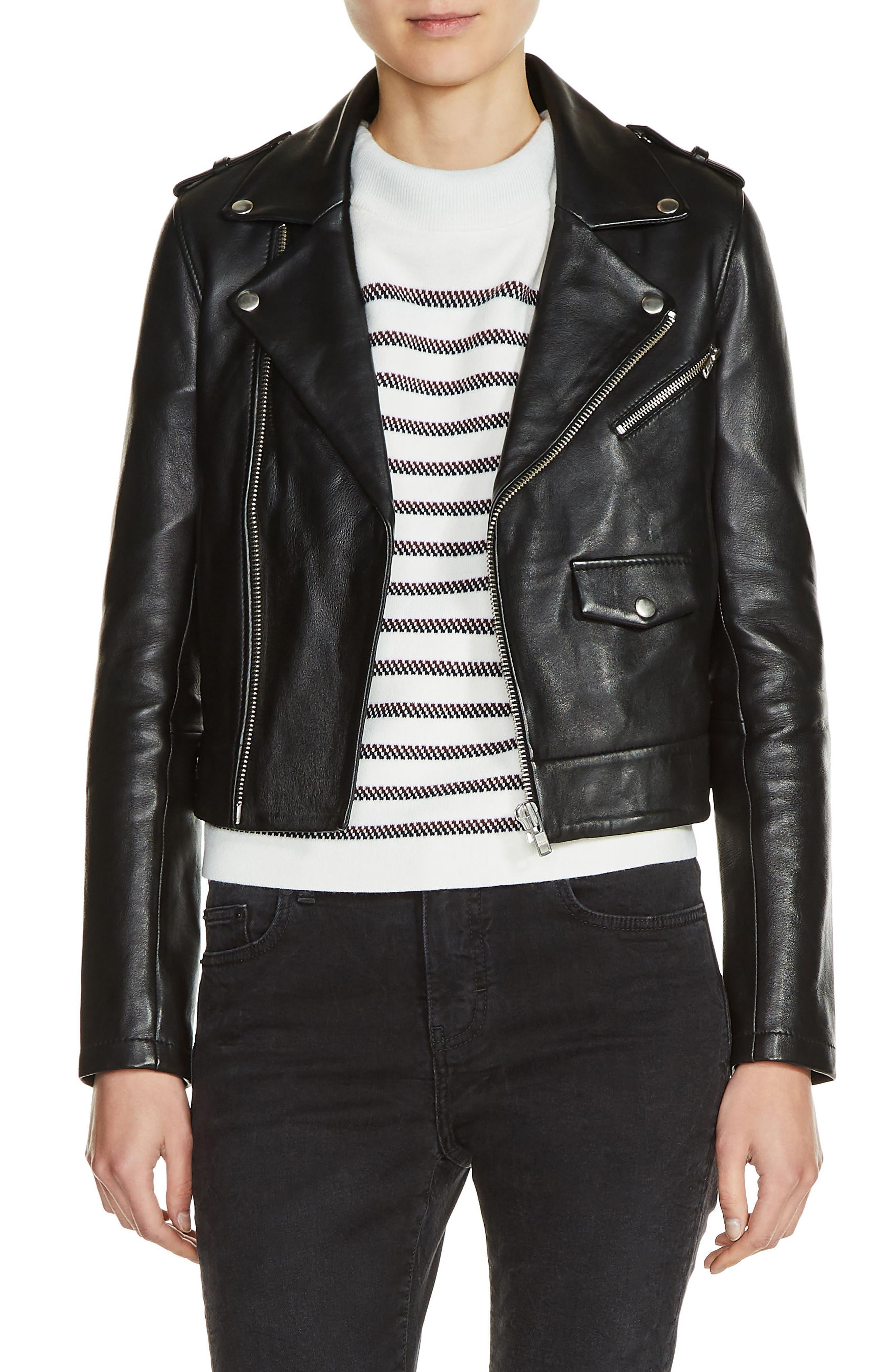Main Image - maje Lambksin Leather Moto Jacket