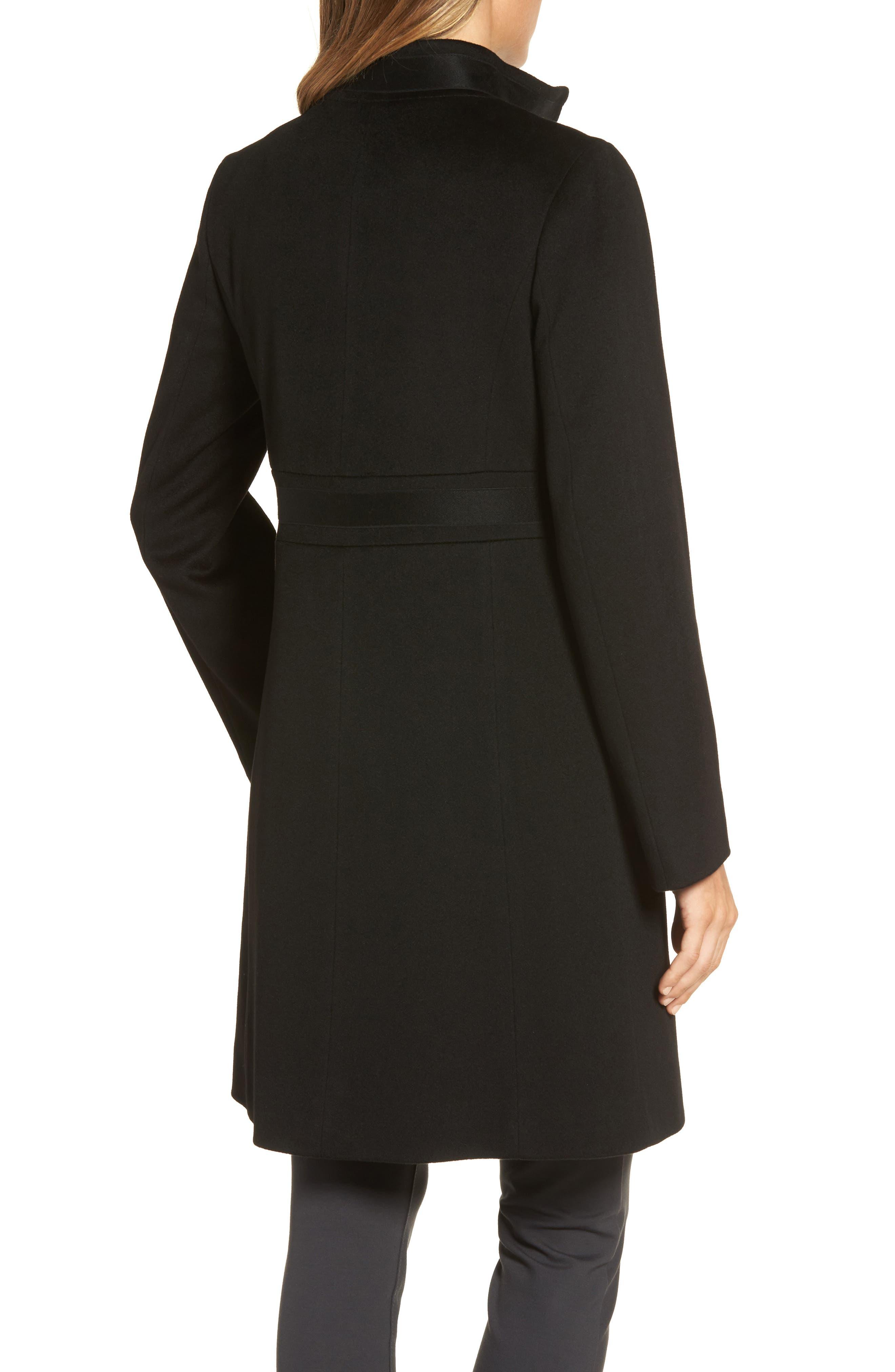Appliqué Wool Coat,                             Alternate thumbnail 2, color,                             Black