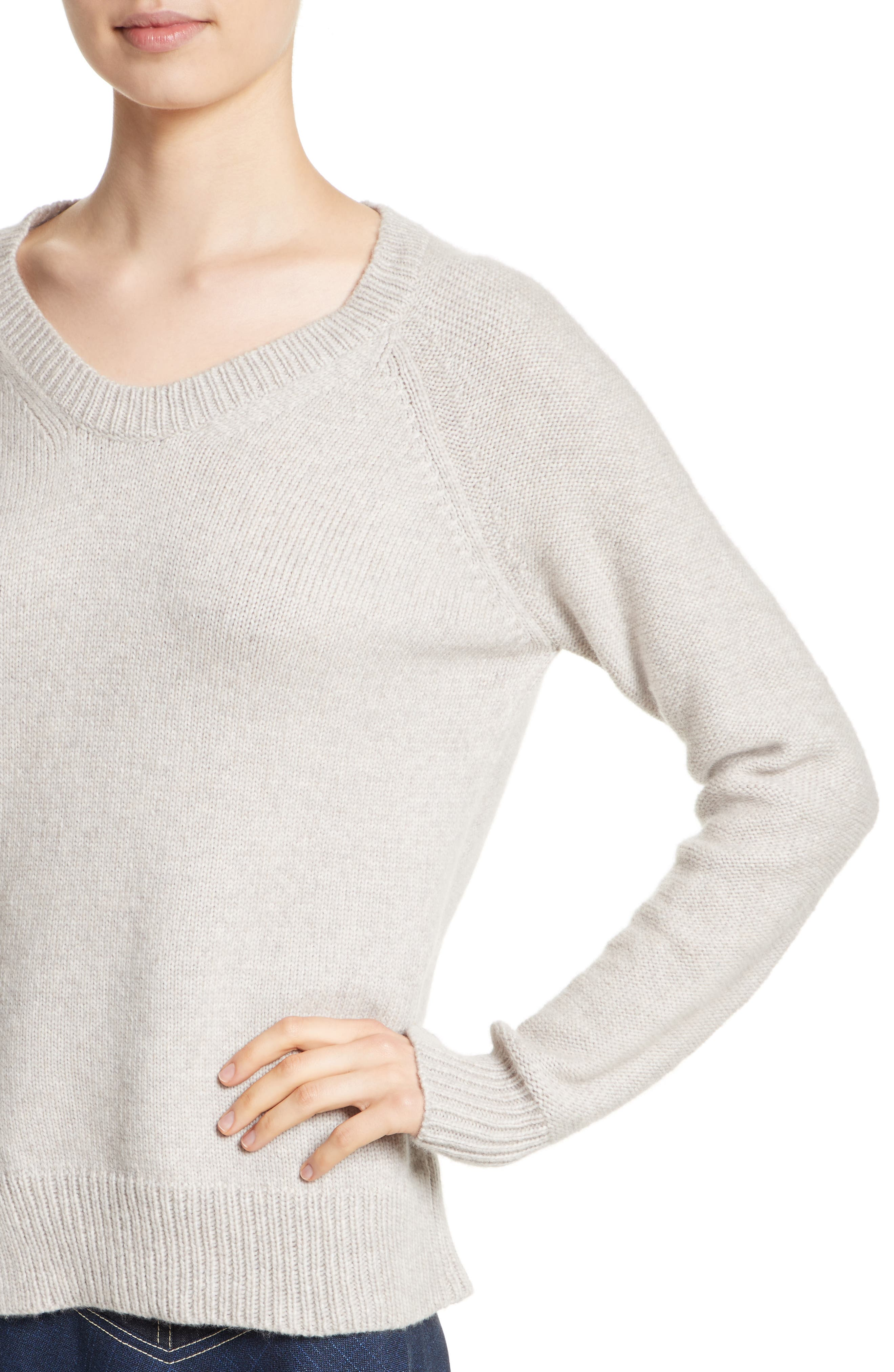 Asymmetrical Wide Neck Sweater,                             Alternate thumbnail 4, color,                             Sand