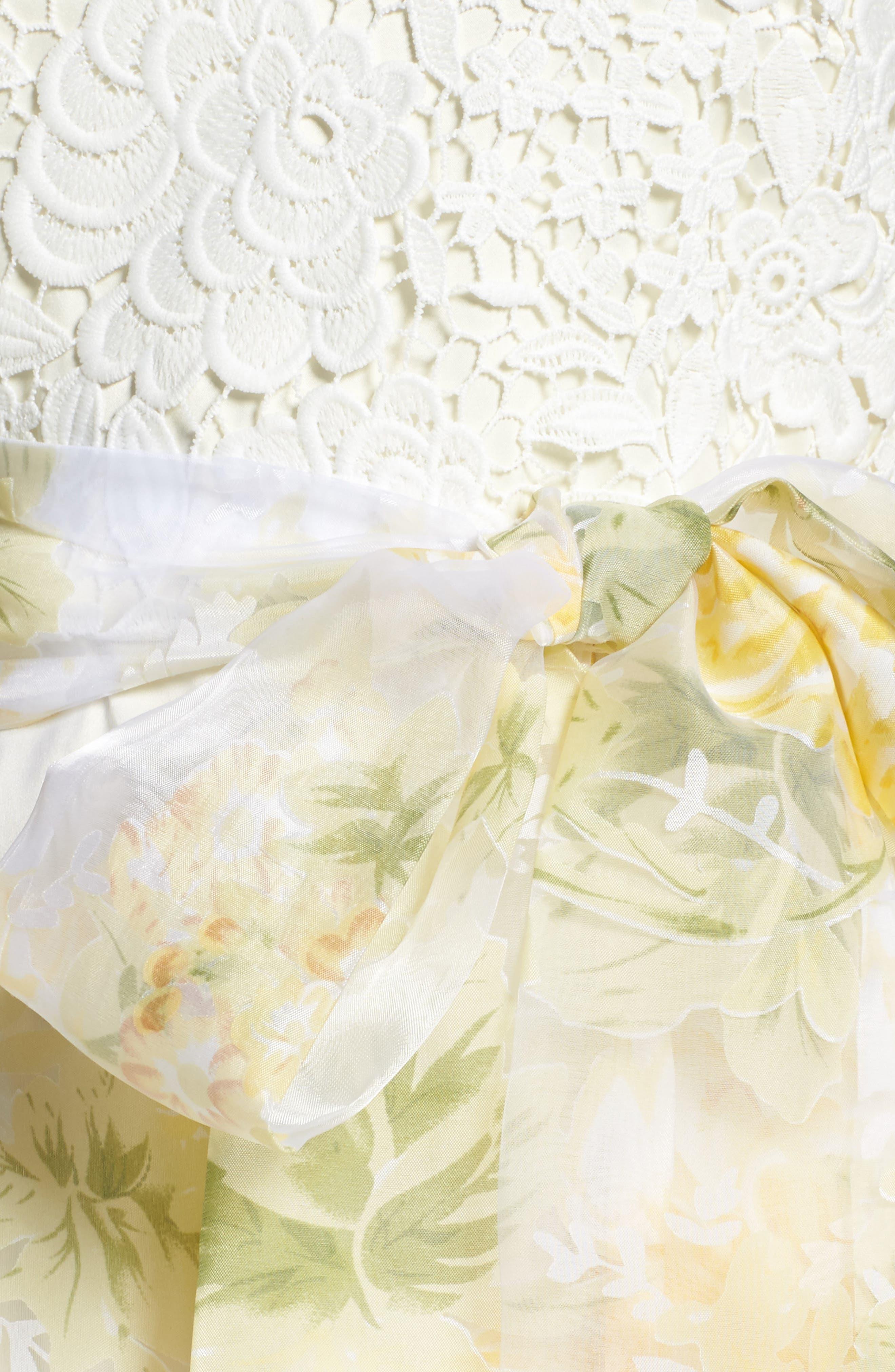 Alternate Image 5  - Eliza J Crochet & Floral Organza Halter Gown