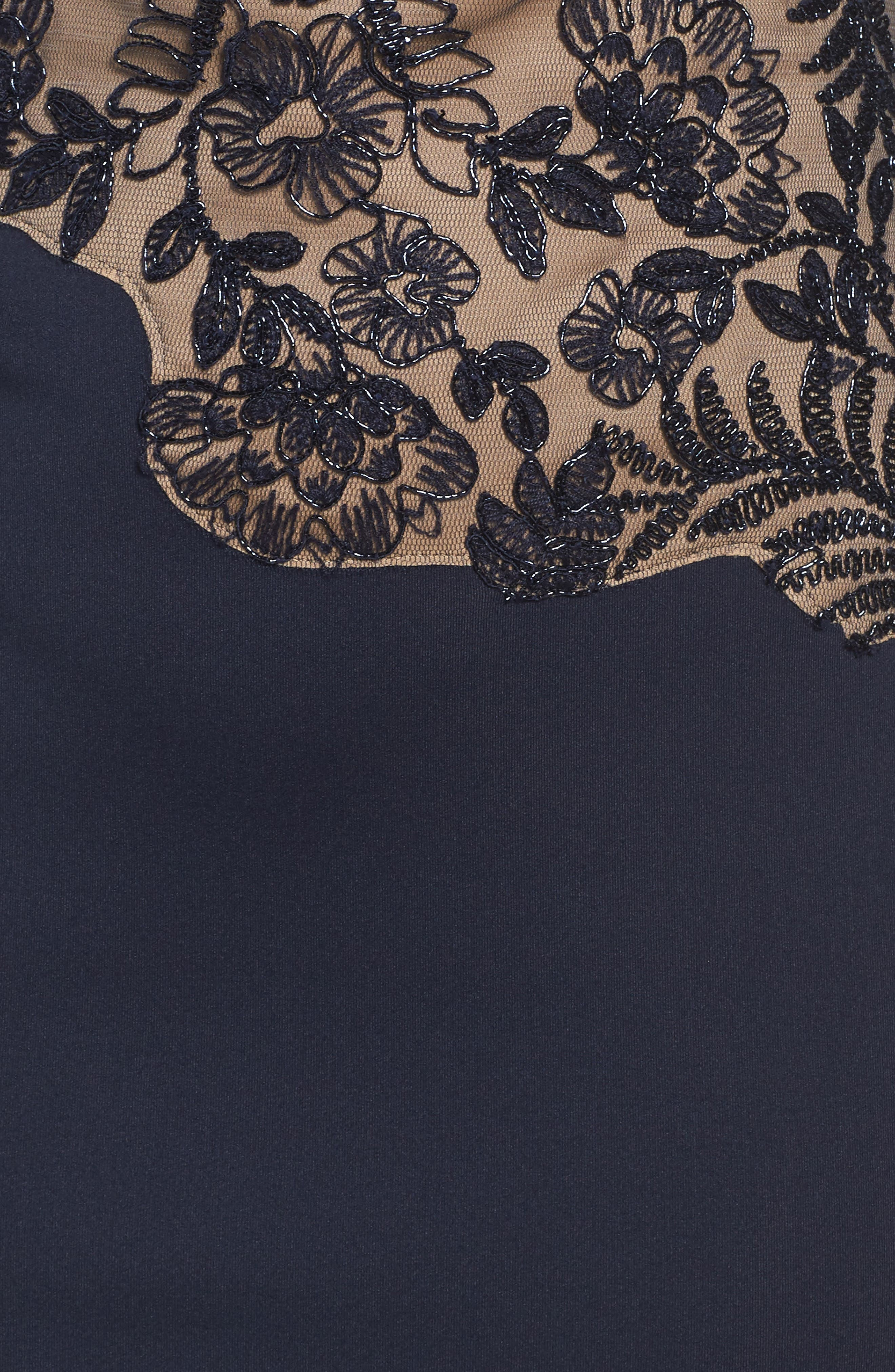 Lace Sheath Dress,                             Alternate thumbnail 5, color,                             Navy/ Nude