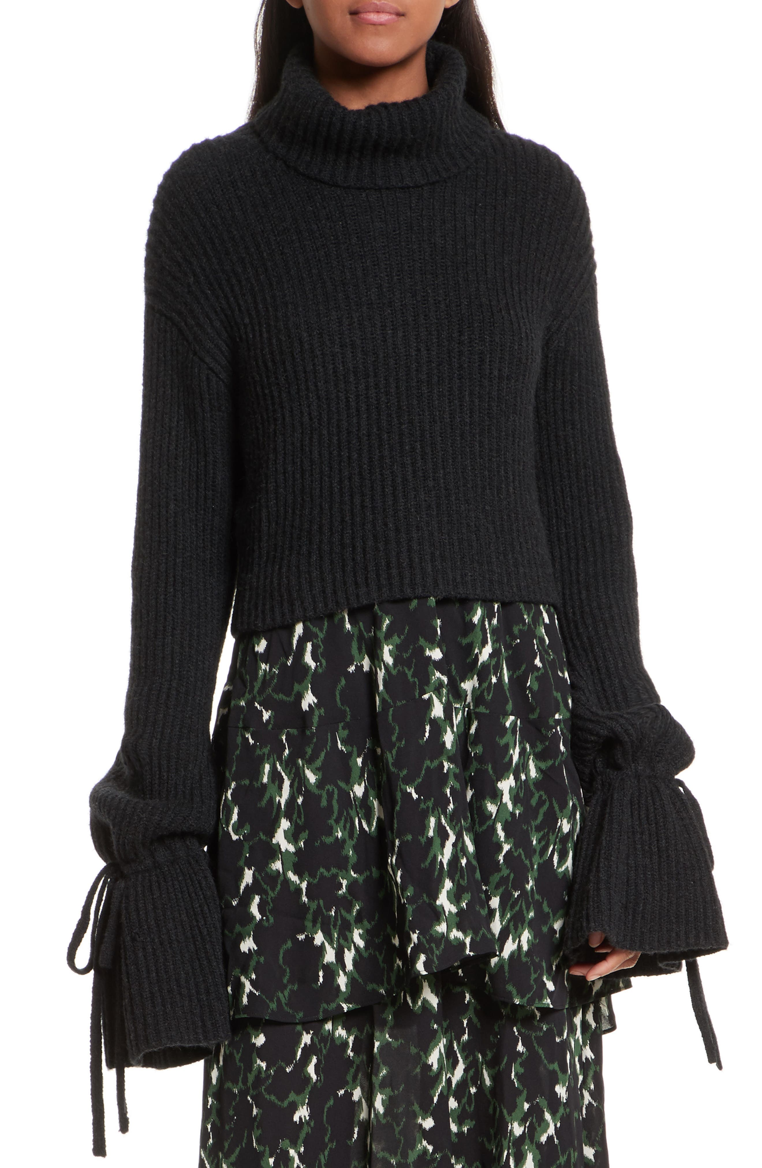 Emilie Wool & Camel Hair Turtleneck Sweater,                         Main,                         color, Charcoal