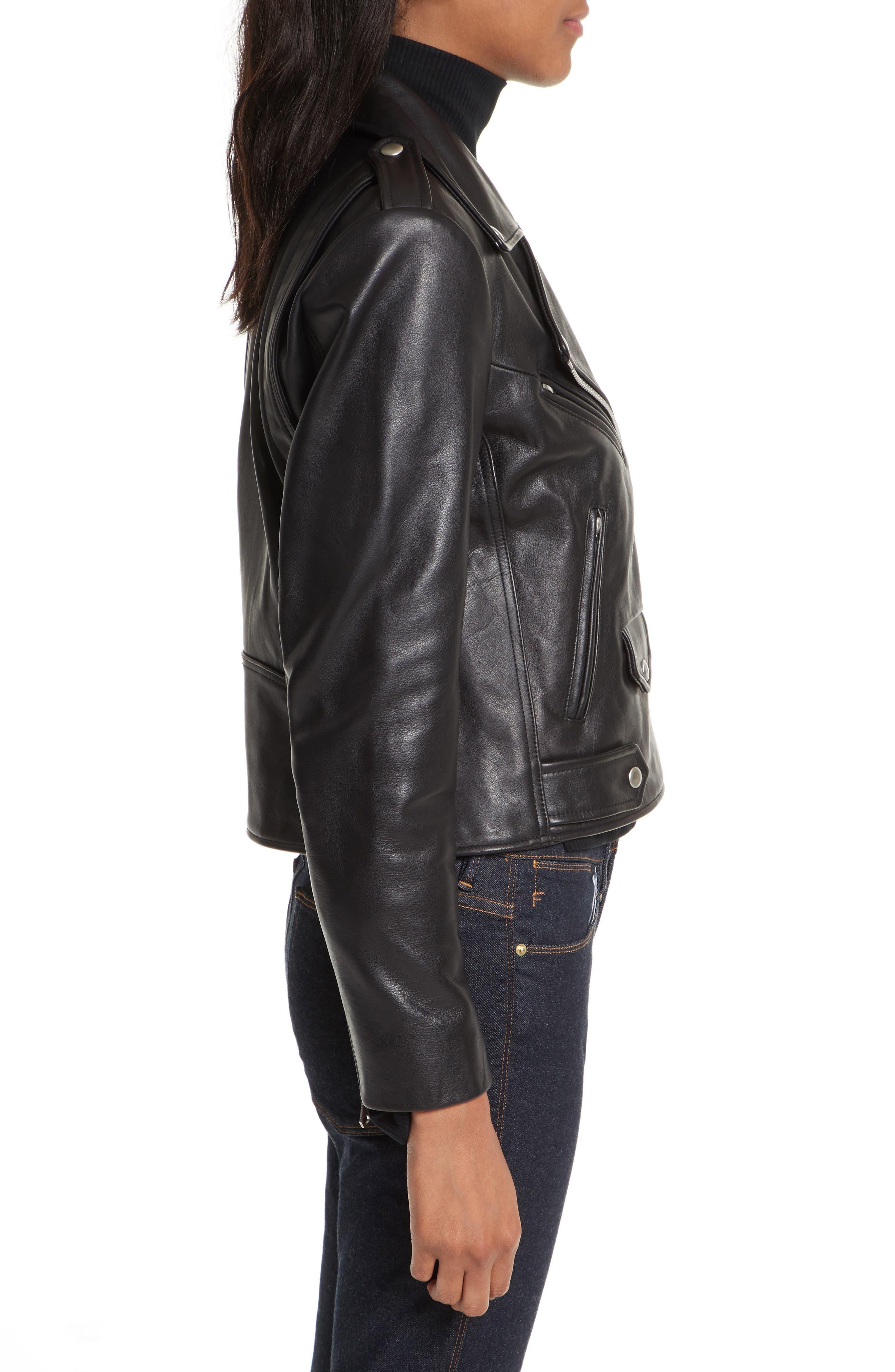 Wes Leather Moto Jacket,                             Alternate thumbnail 3, color,                             Black