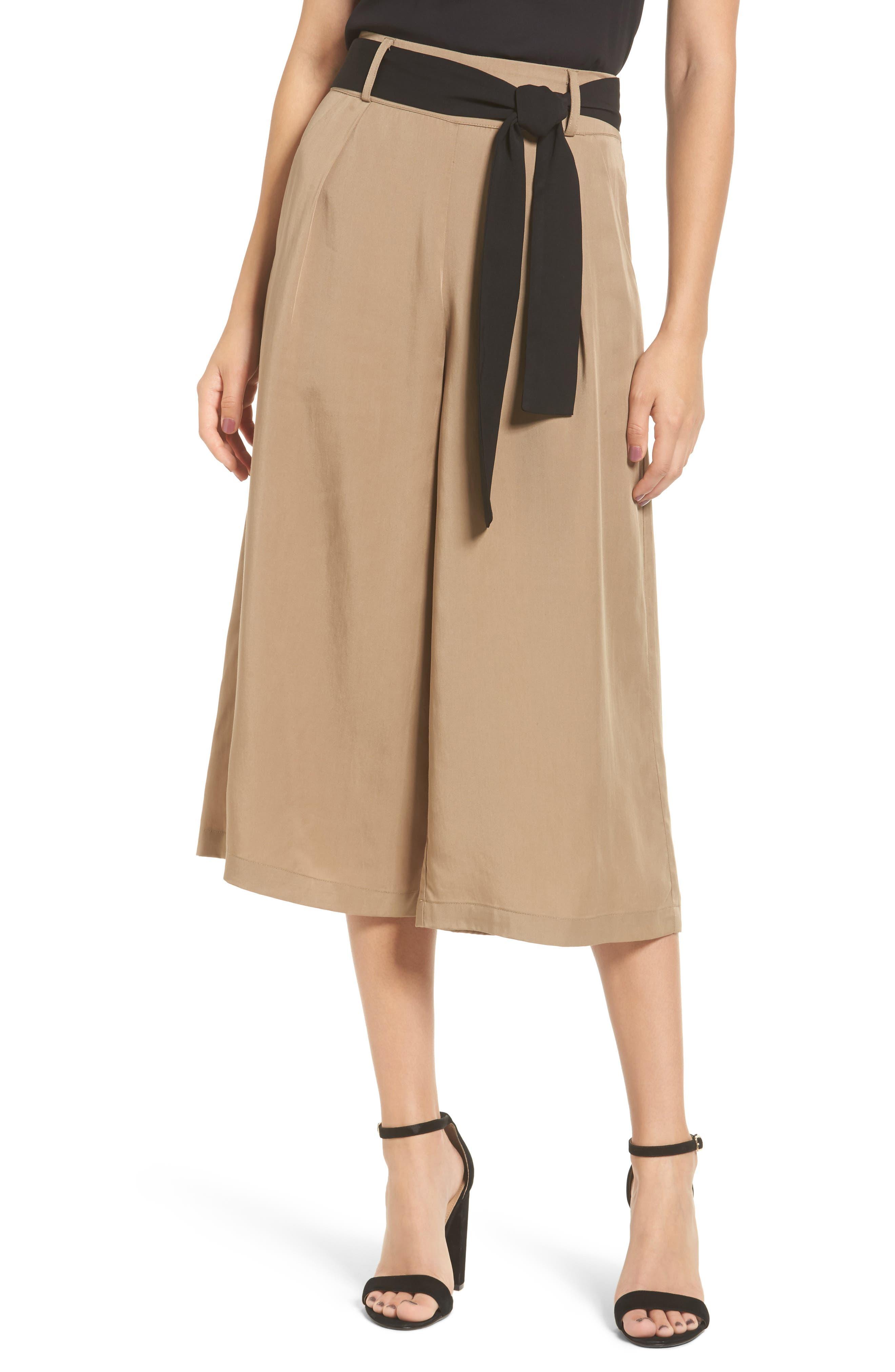 Tie Front Culottes,                         Main,                         color, Beige