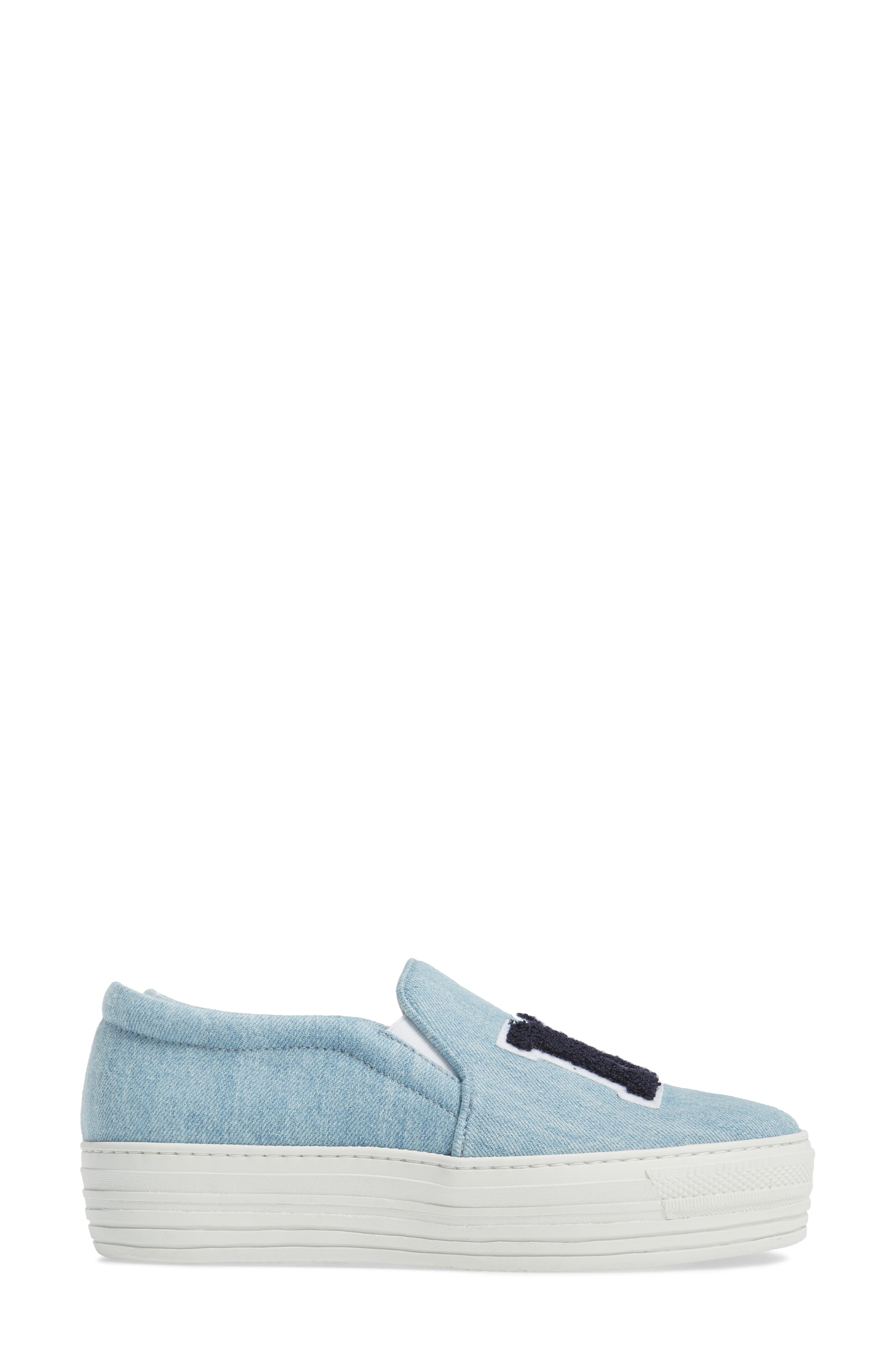 Slip-On Sneaker,                             Alternate thumbnail 4, color,                             Light Denim