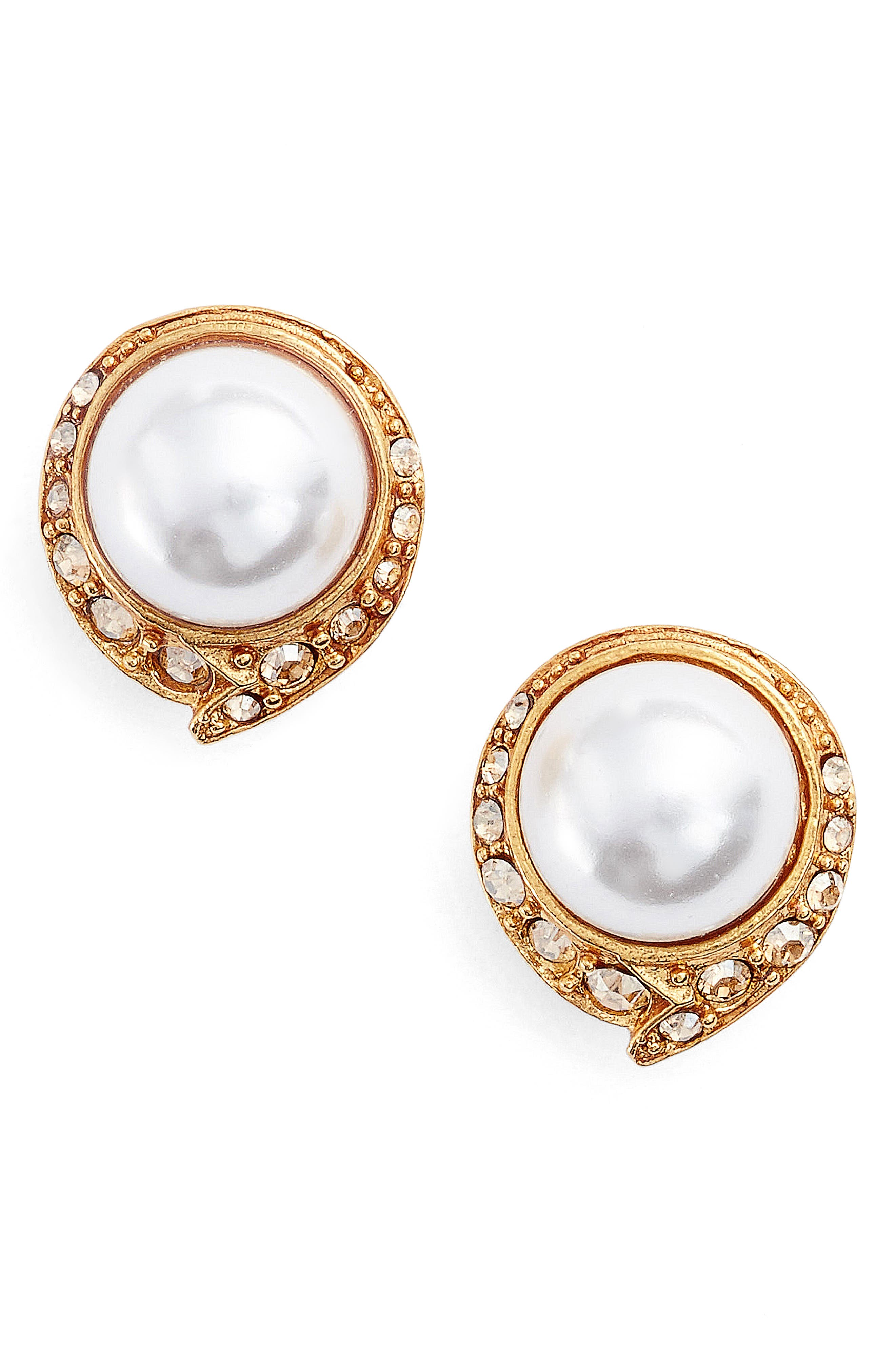 Simulated Pearl Stud Earrings,                         Main,                         color, Crystal Gold Shadow