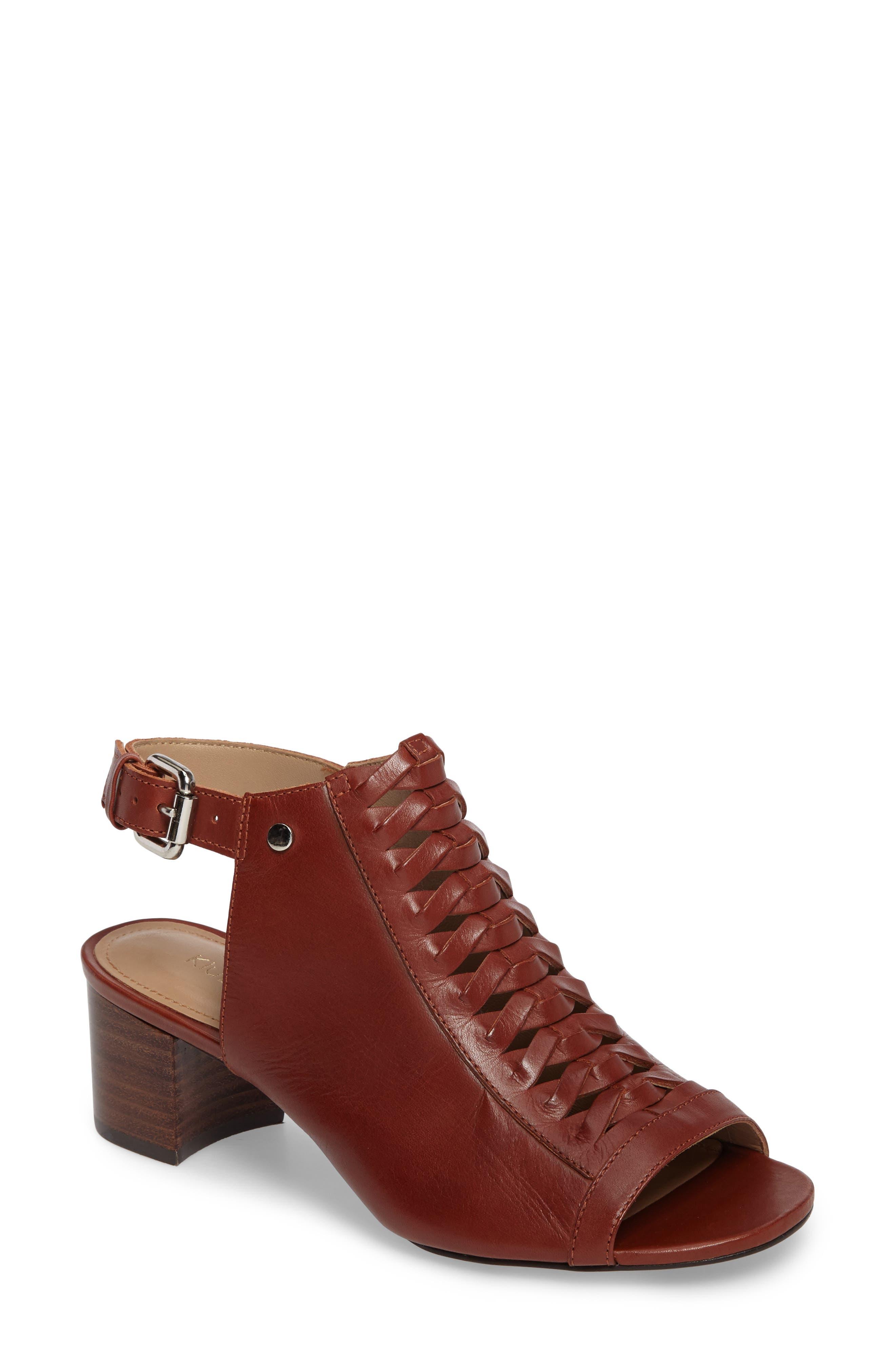 Dallas Woven Sandal,                         Main,                         color, Cognac Leather