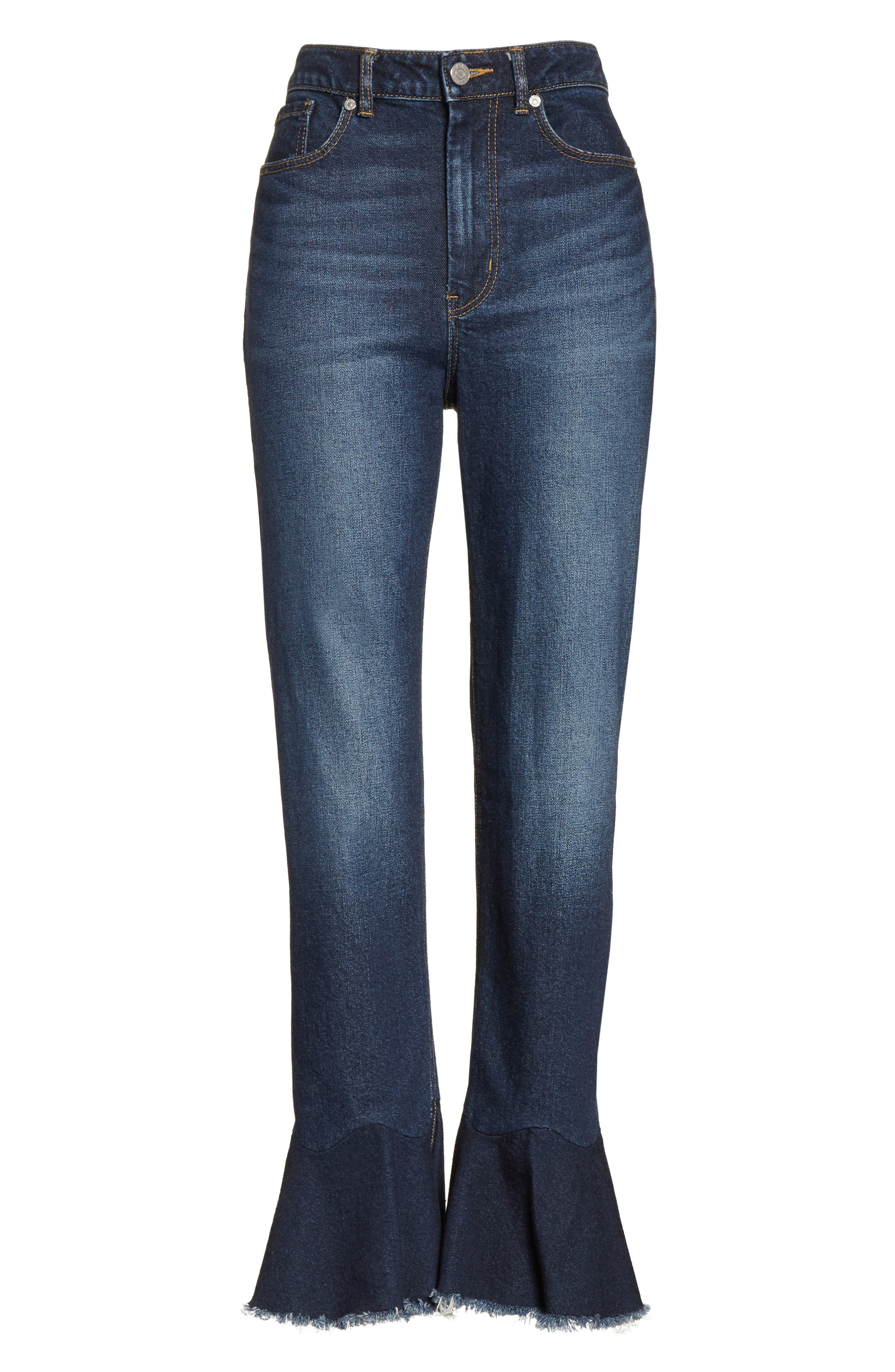 Ruffle Hem Jeans,                             Alternate thumbnail 6, color,                             Blue Midnight Wash