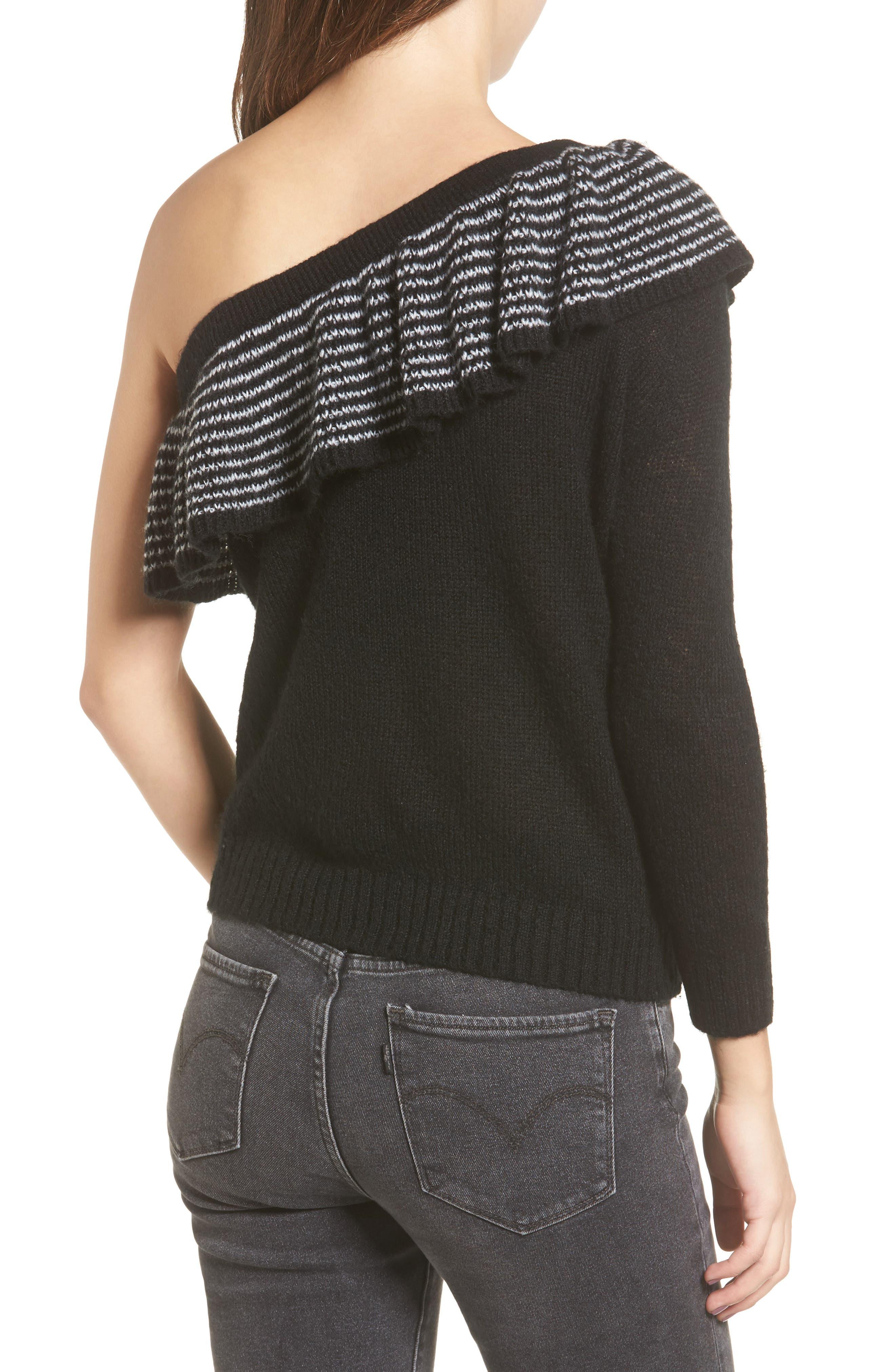 Ruffle One-Shoulder Sweater,                             Alternate thumbnail 2, color,                             Black