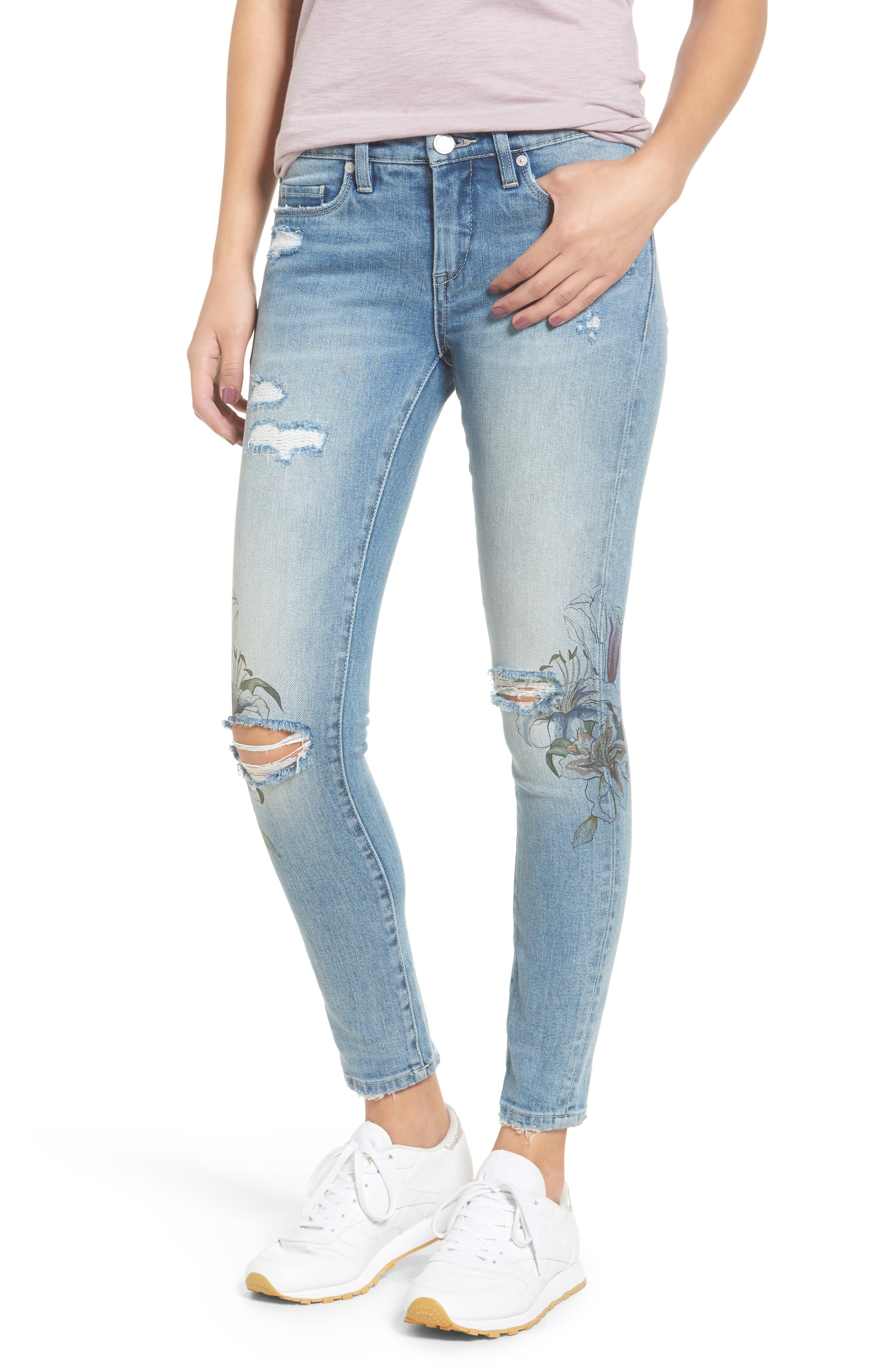 Print Ripped Skinny Jeans,                         Main,                         color, Goin Digital Light Blue