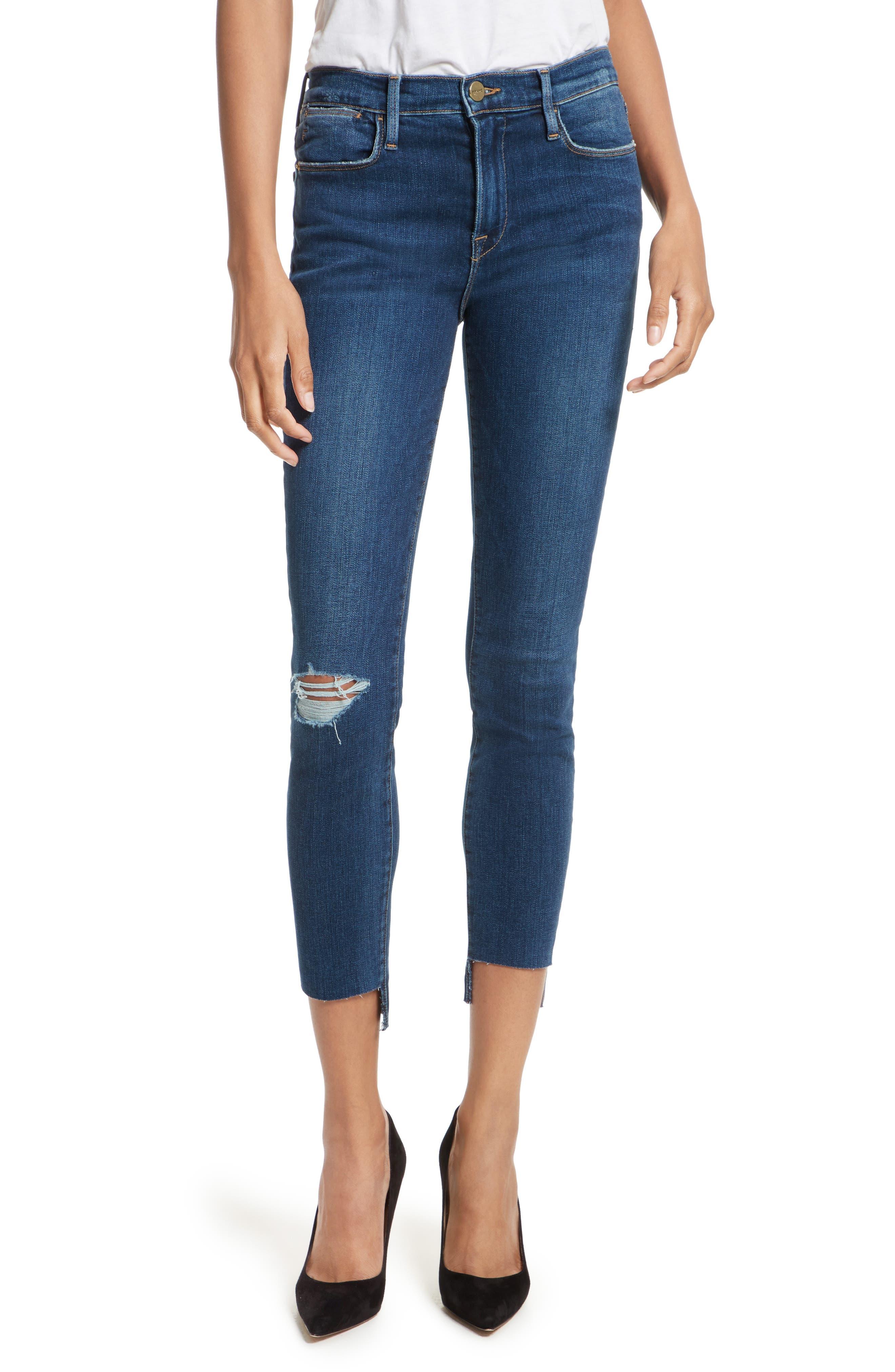 Main Image - FRAME Le High High Waist Staggered Hem Slim Jeans (Baisley)