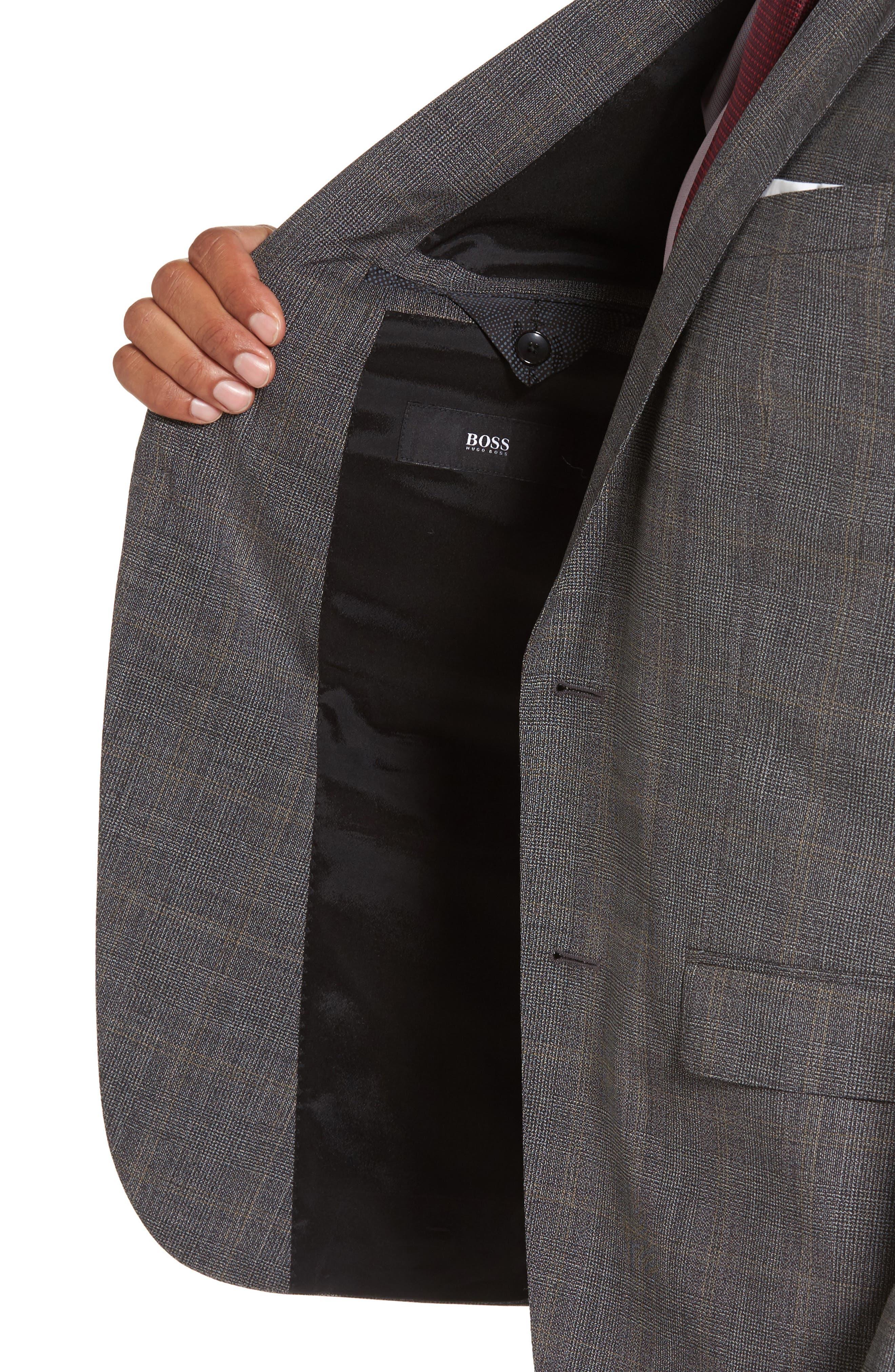 Novan/Ben Trim Fit Plaid Wool Suit,                             Alternate thumbnail 4, color,                             Black