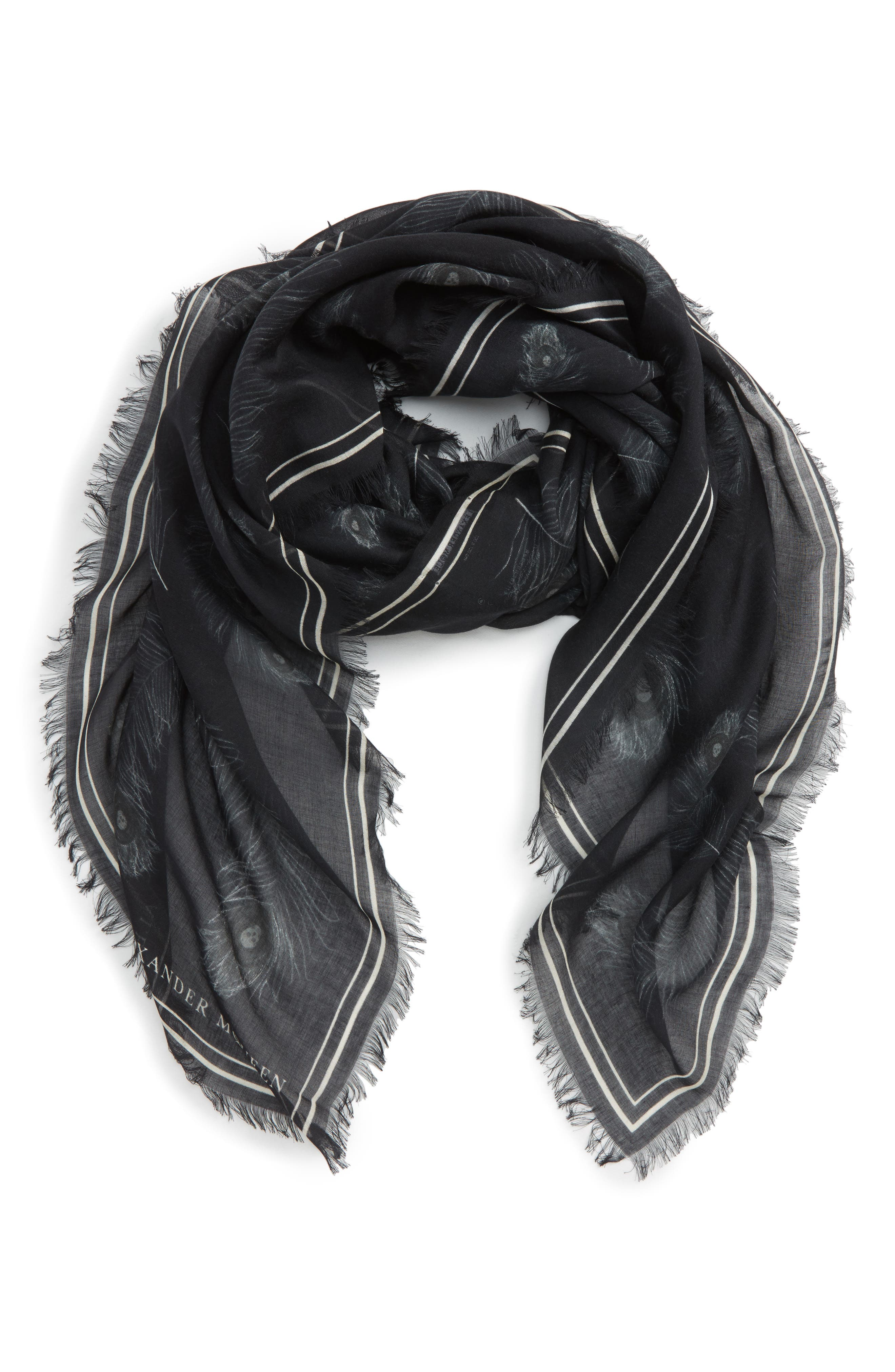 Peacock Feather Skull Scarf,                             Main thumbnail 1, color,                             Black/ Ivory
