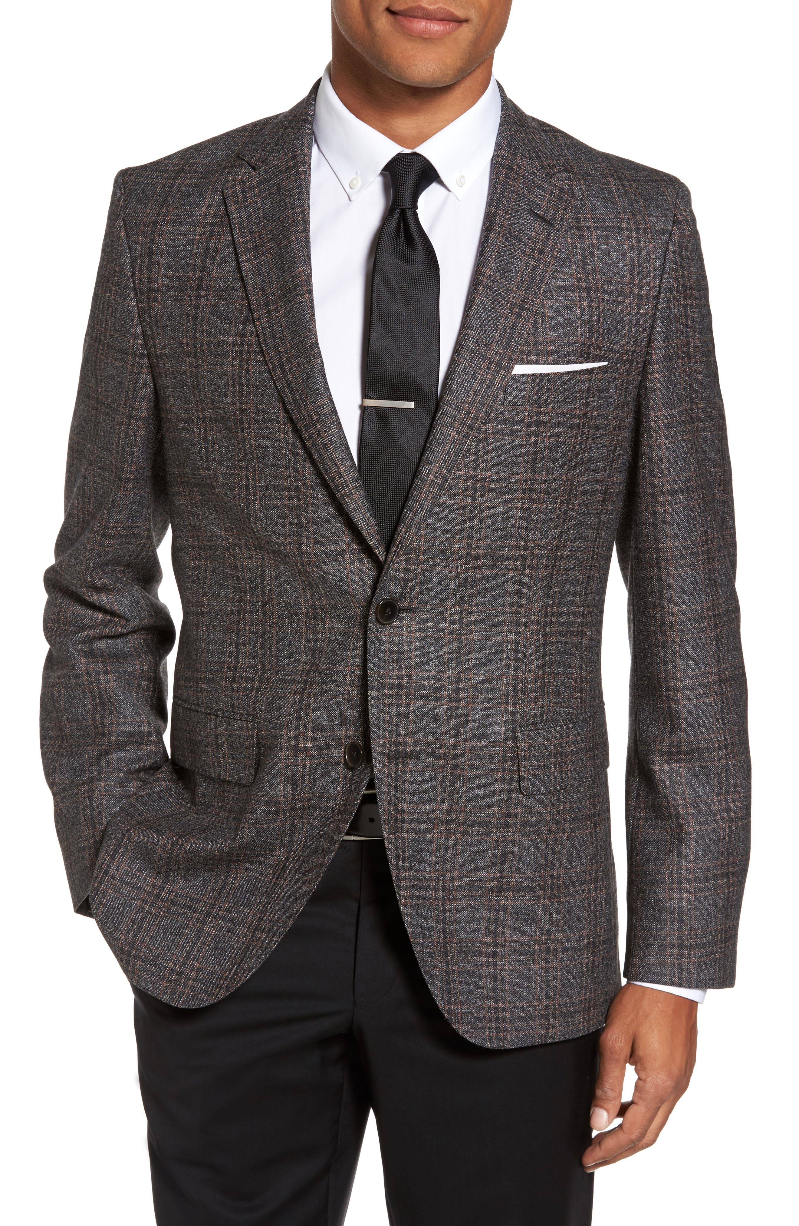 Jeen Trim Fit Plaid Wool Sport Coat,                             Main thumbnail 1, color,                             Dark Brown