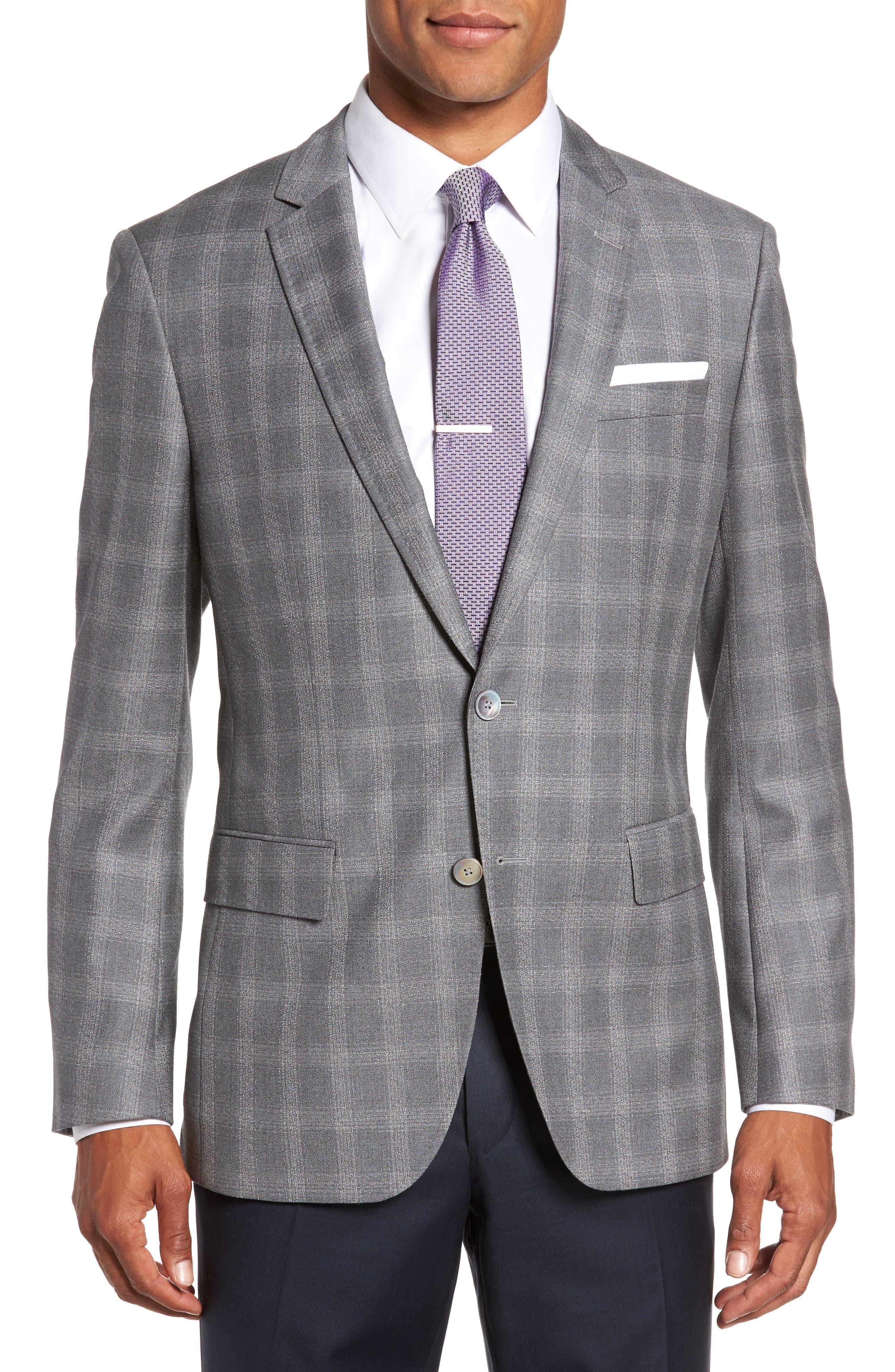 Hutsons Classic Fit Check Sport Coat,                         Main,                         color, Medium Grey