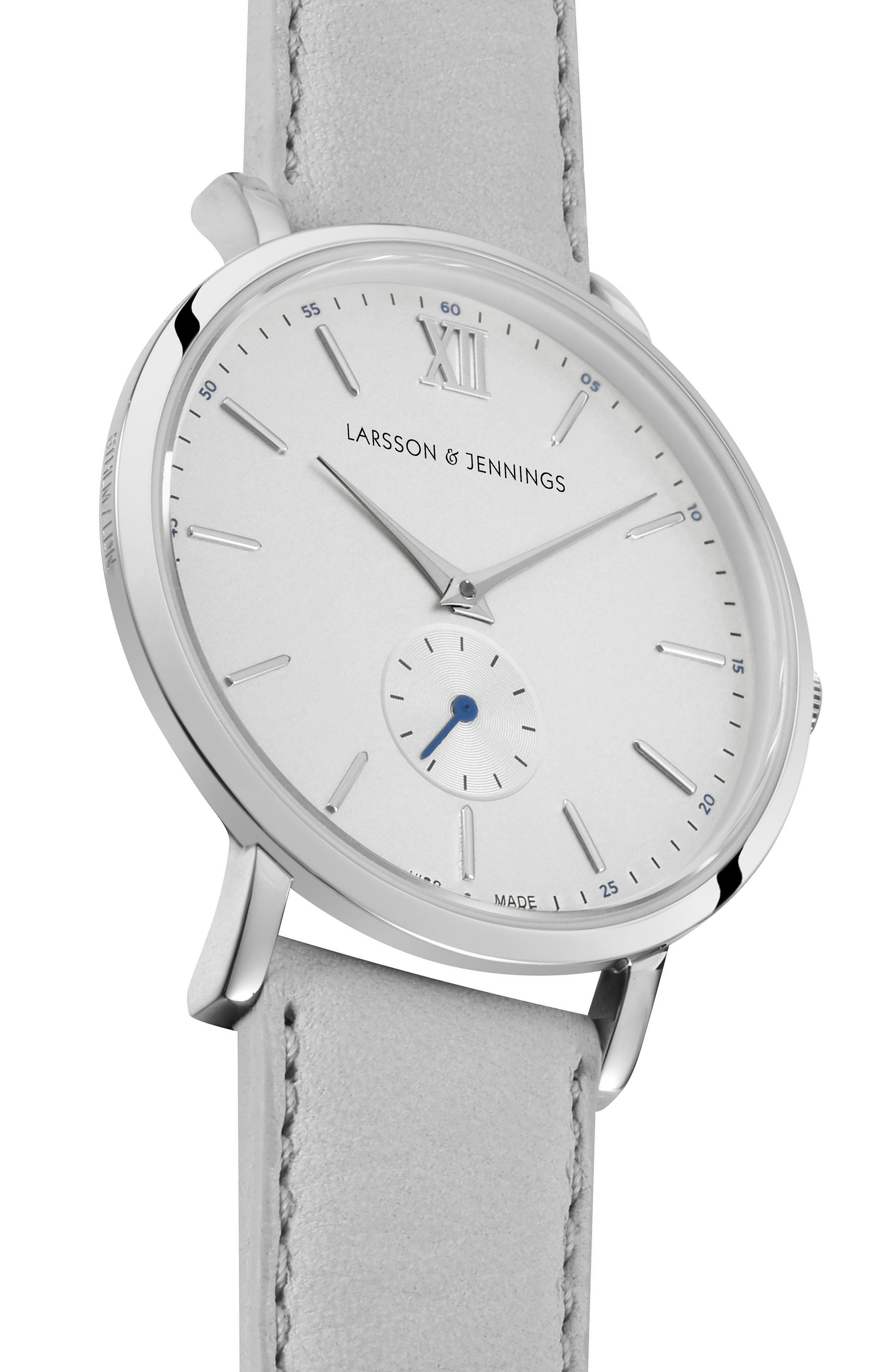 Lugano Leather Strap Watch, 38mm,                             Alternate thumbnail 3, color,                             Grey/ Silver