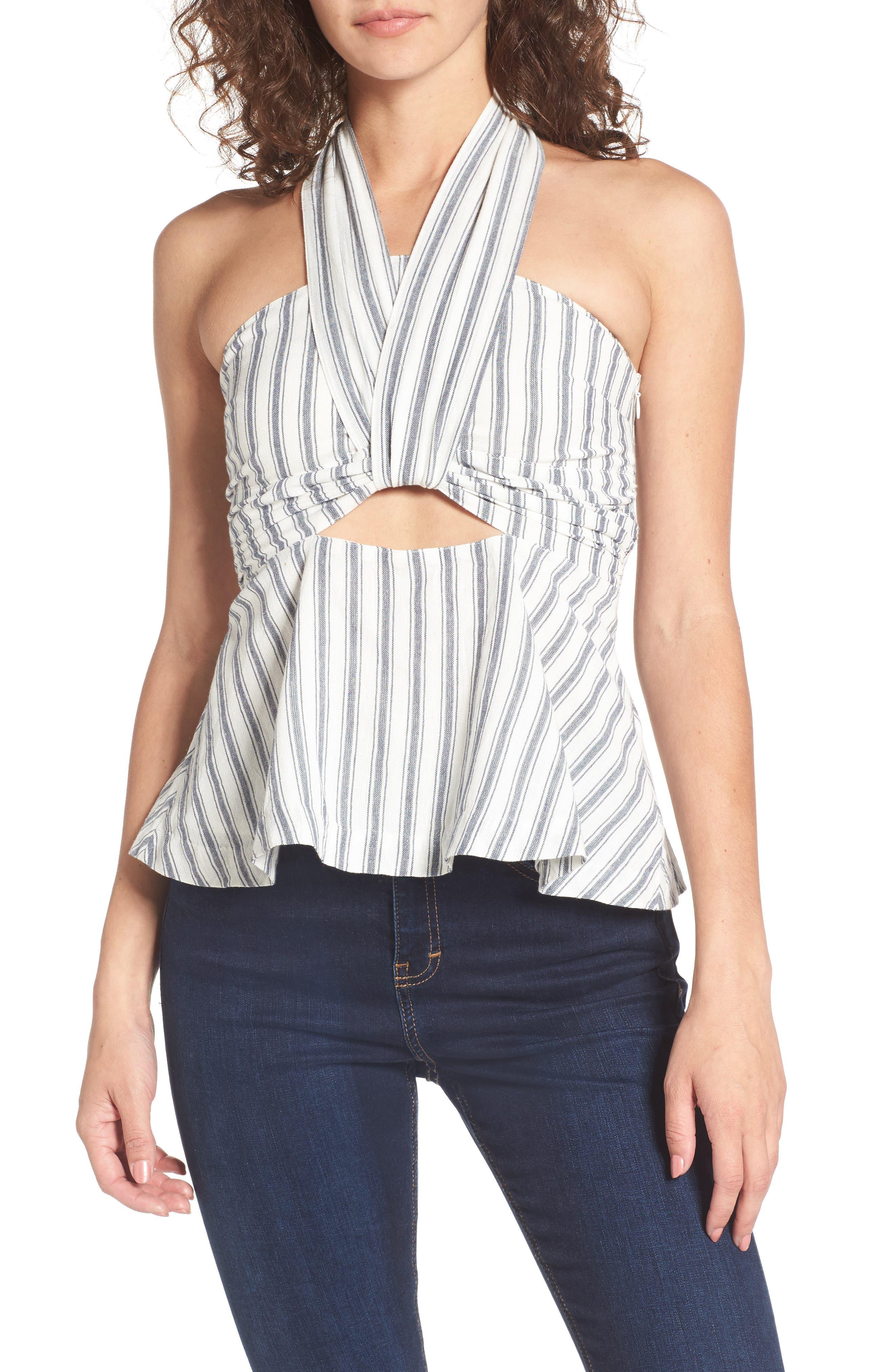 Darby Stripe Halter Top,                         Main,                         color, Navy Stripe