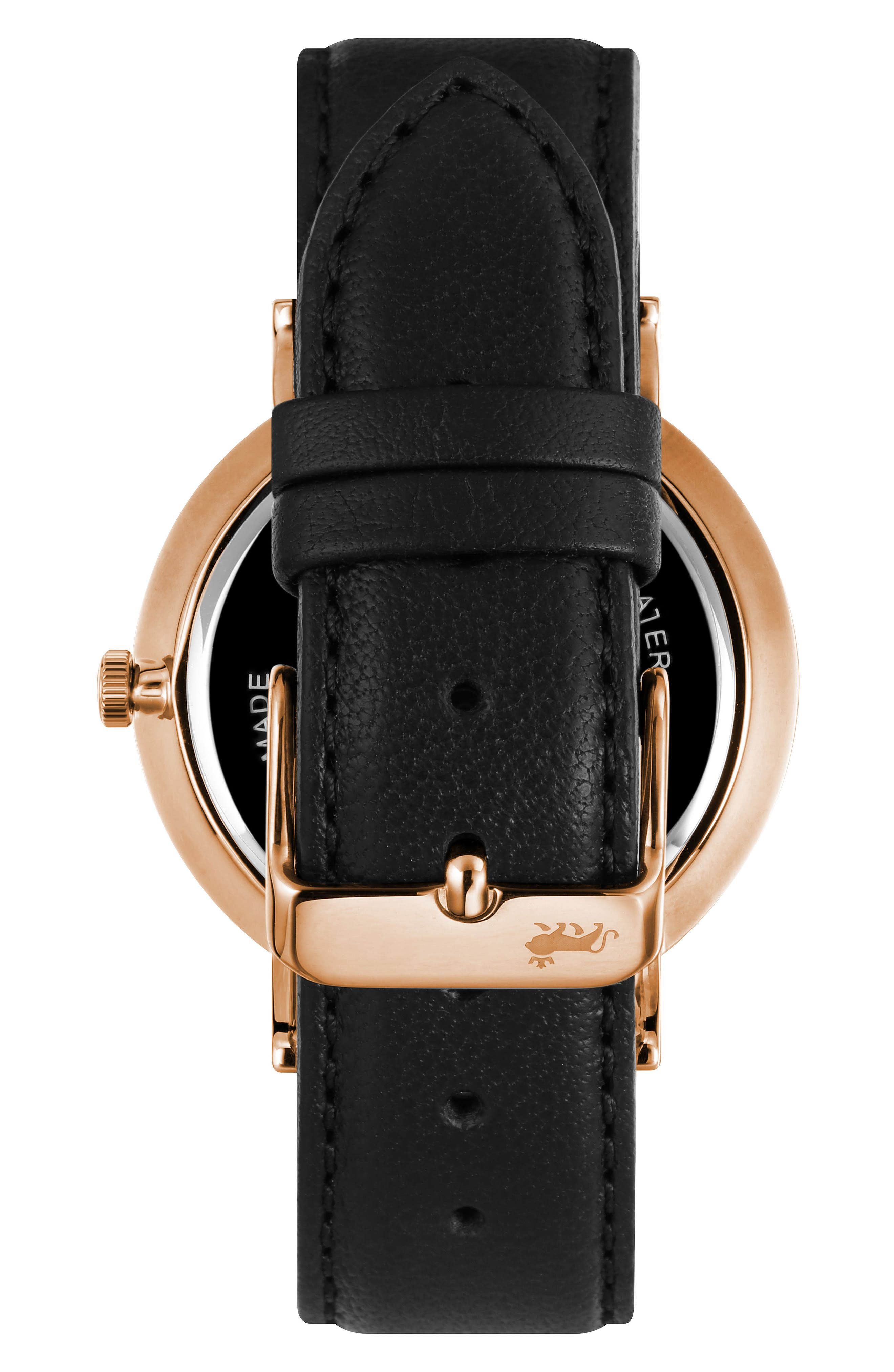 Lugano Leather Strap Watch, 38mm,                             Alternate thumbnail 2, color,                             Black/ Rose Gold