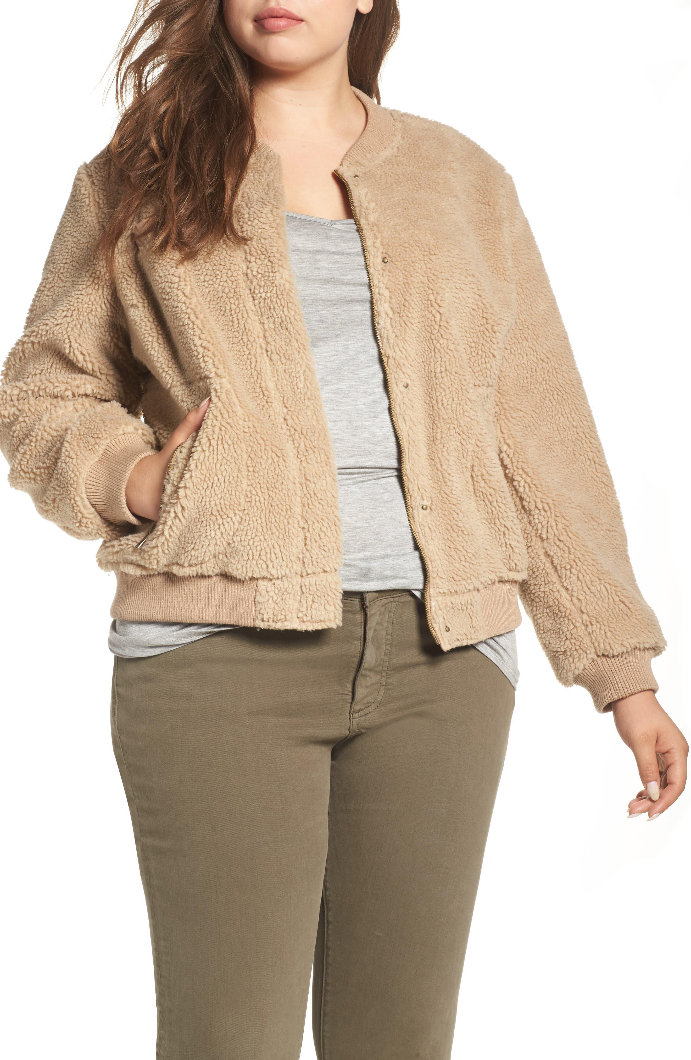 Rib Knit Fleece Bomber Jacket,                         Main,                         color, Camel