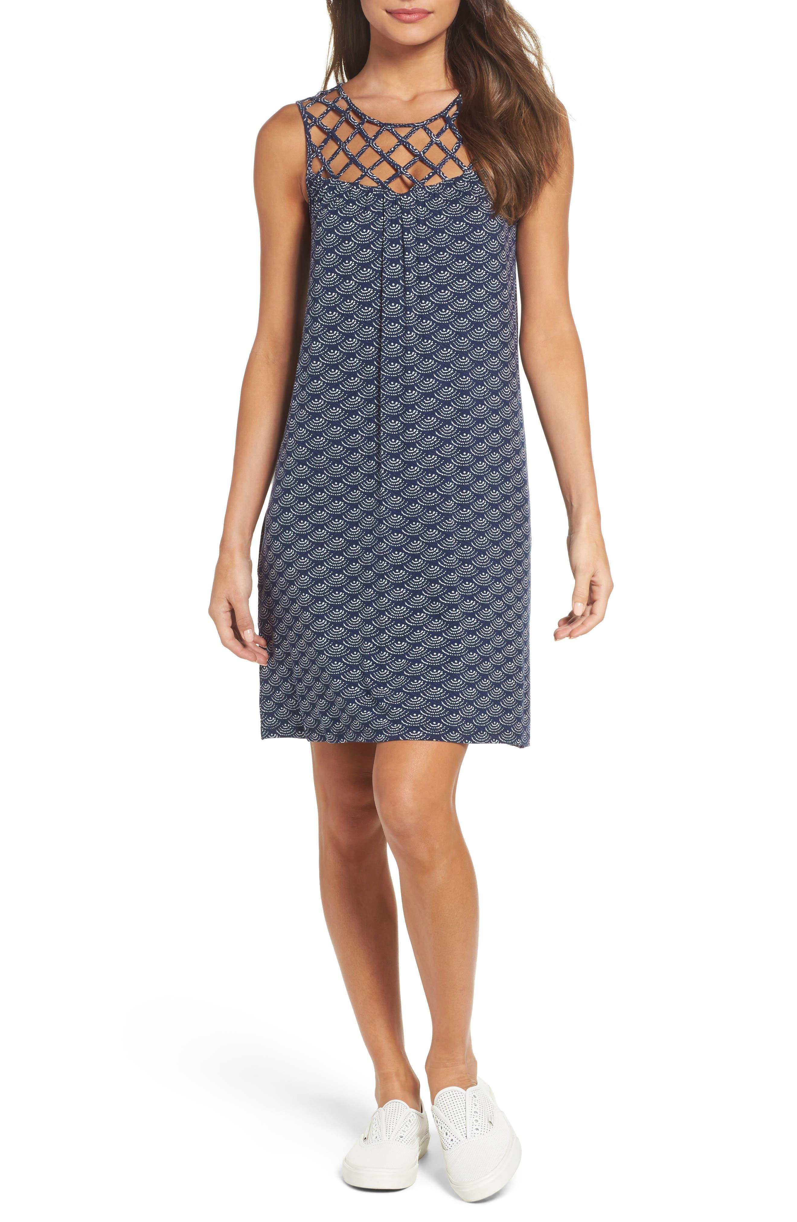 Lattice Yoke Knit Shift Dress,                         Main,                         color, Navy