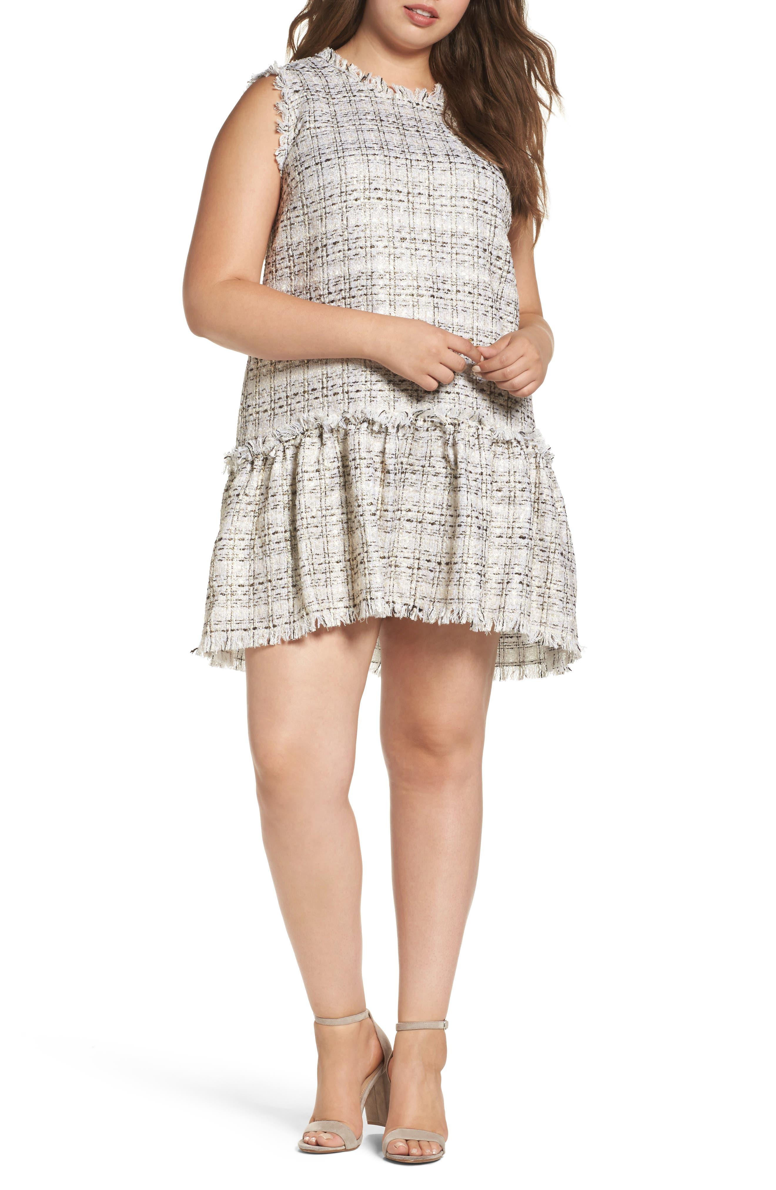 ELVI Drop Waist Bouclé Dress (Plus Size)