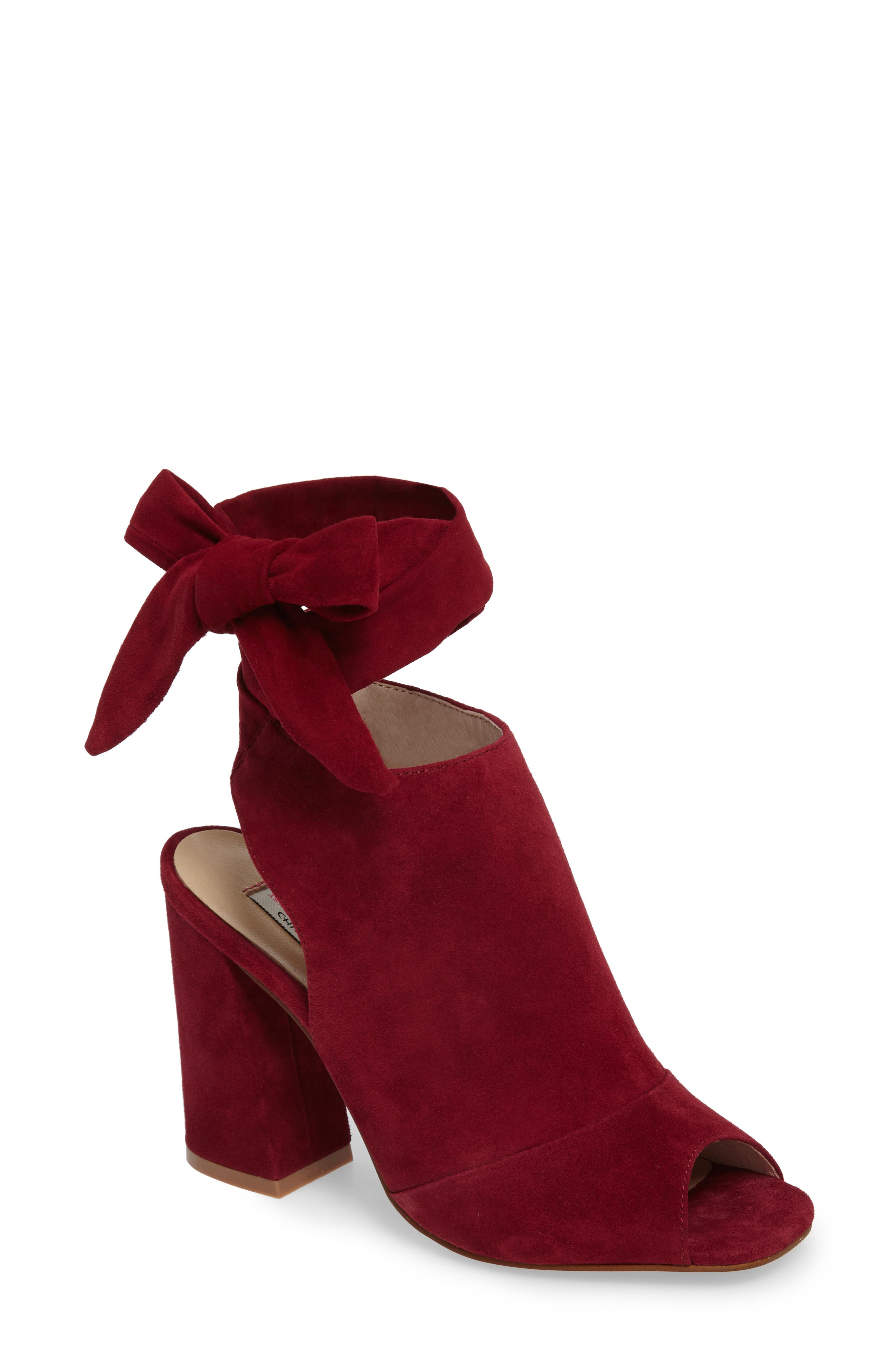 Leeds Peep Toe Bootie,                             Main thumbnail 1, color,                             Berry Suede