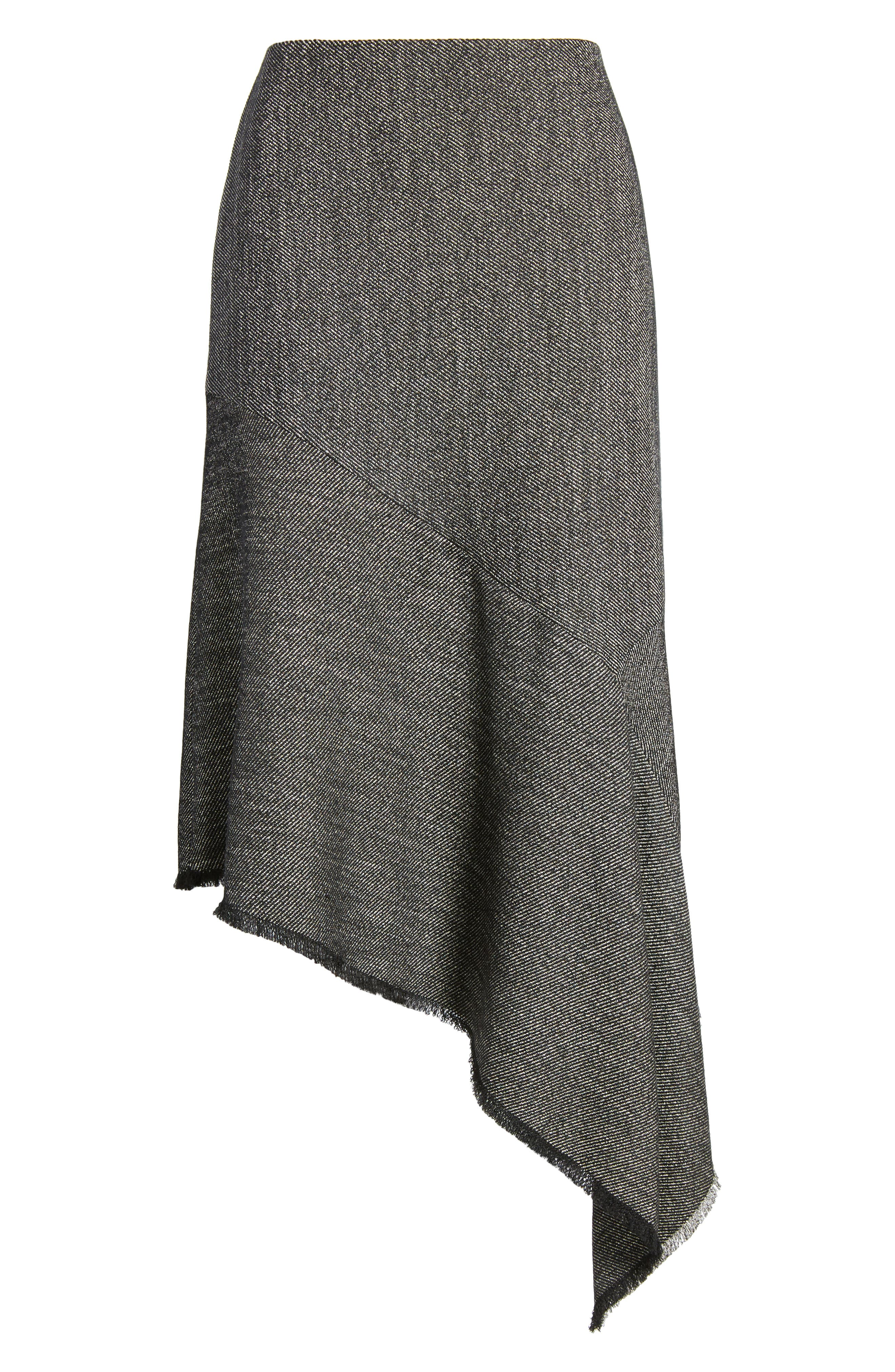 Asymmetrical Tweed Skirt,                             Alternate thumbnail 6, color,                             Black/ White