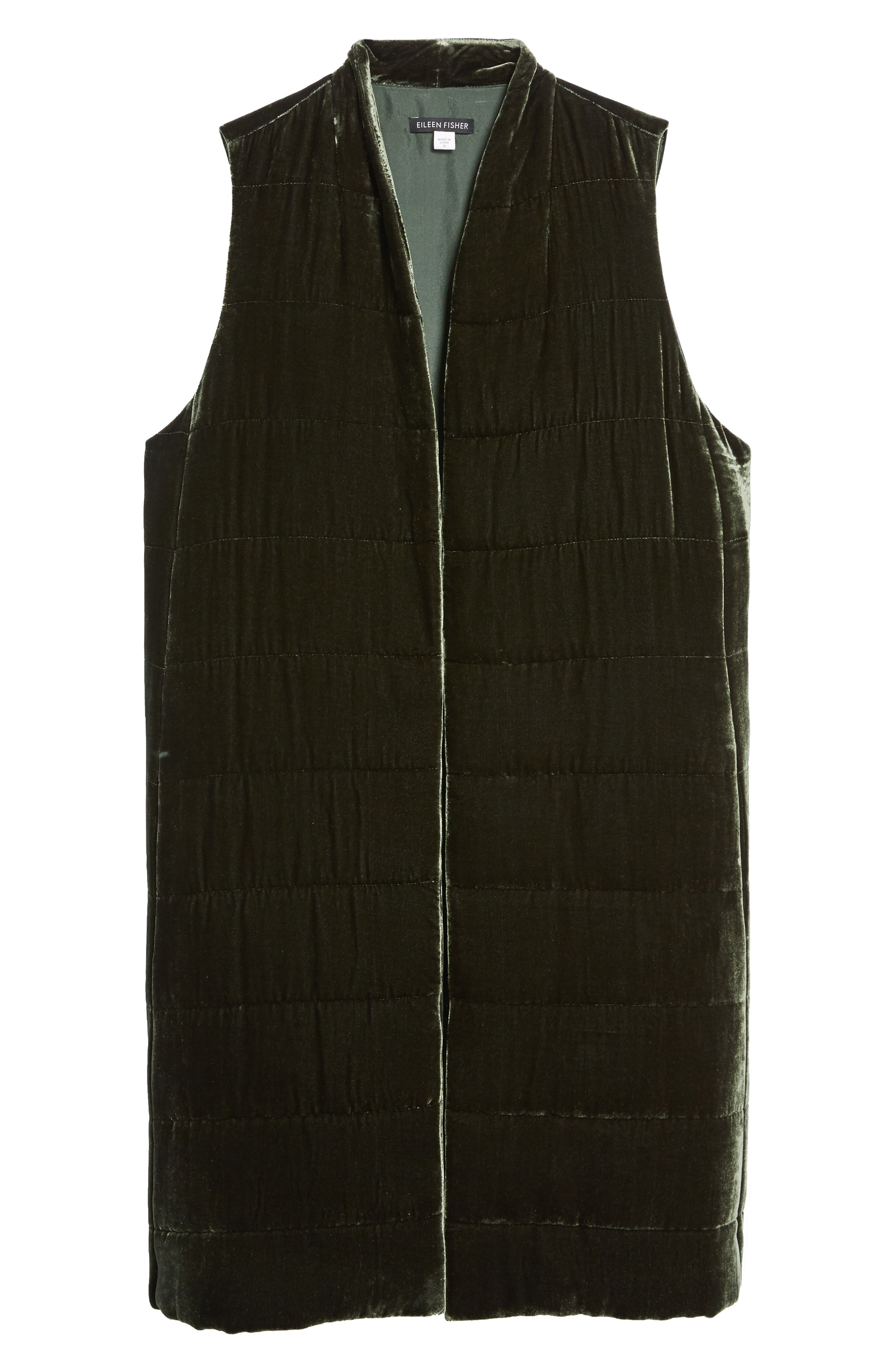 Alternate Image 6  - Eileen Fisher Long Quilted Velvet Vest