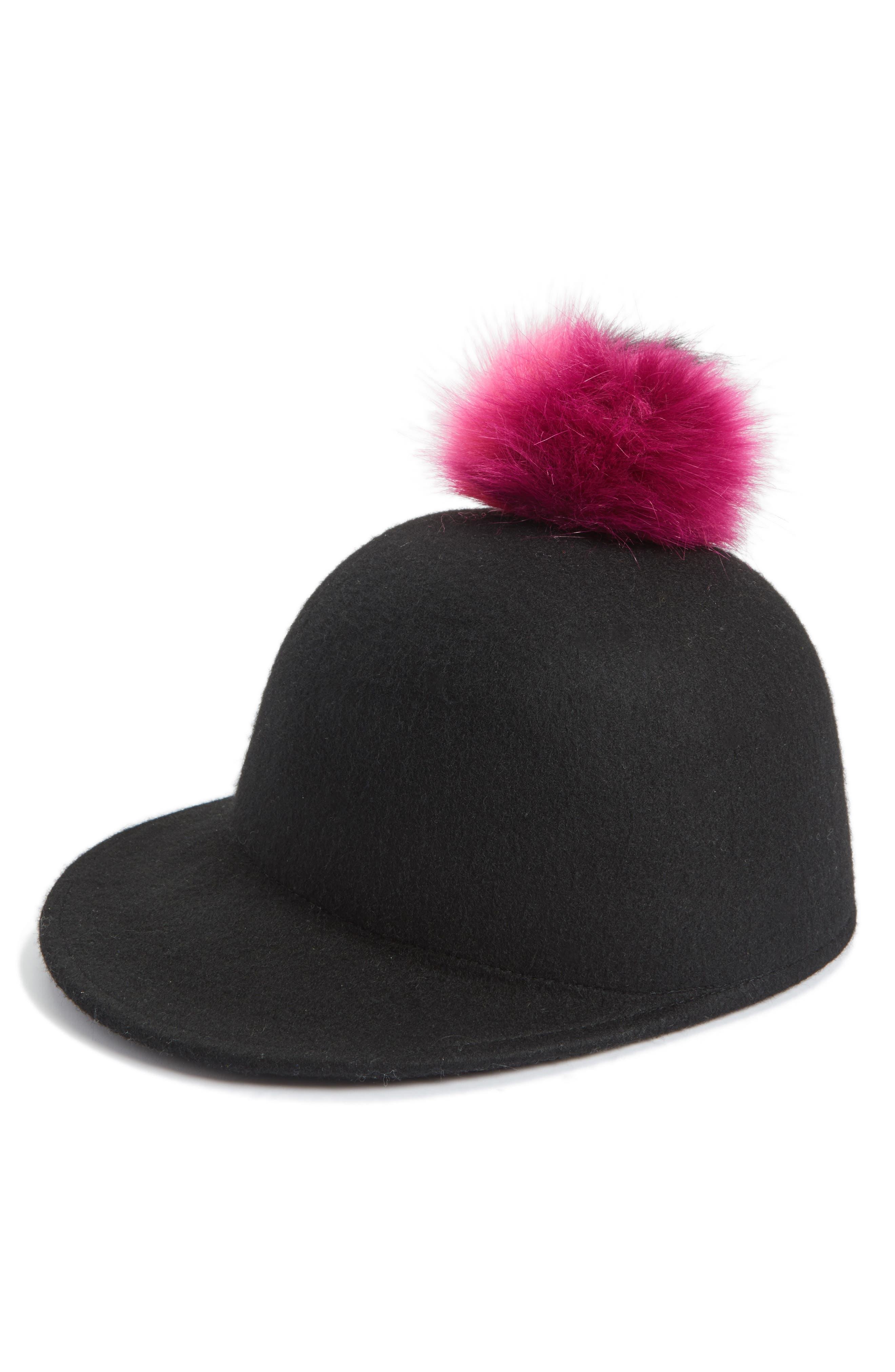 Faux Fur Pom Jockey Cap,                         Main,                         color, Black Multi Combo