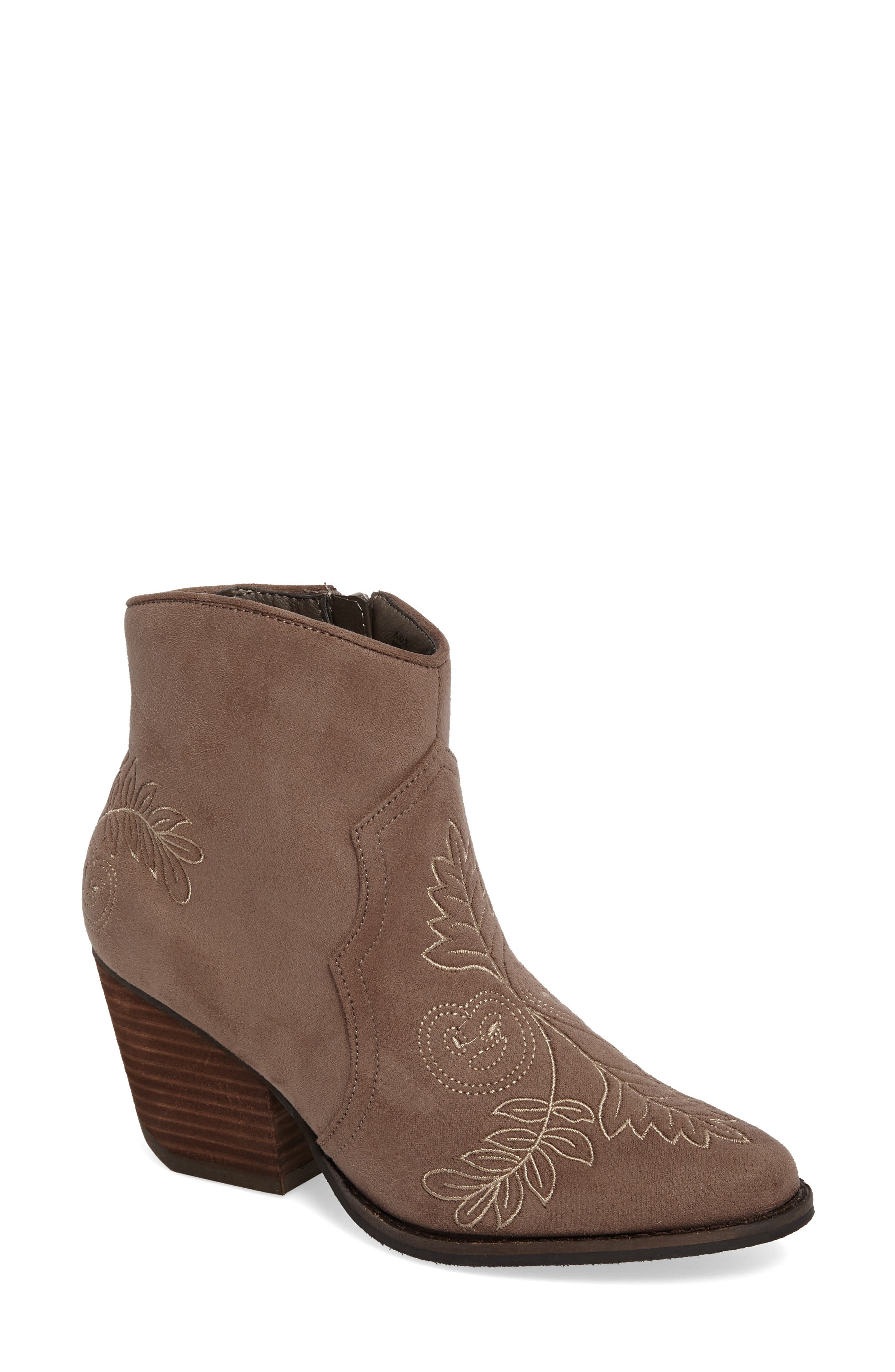 Axis Embroidered Bootie,                             Main thumbnail 1, color,                             Taupe Suede