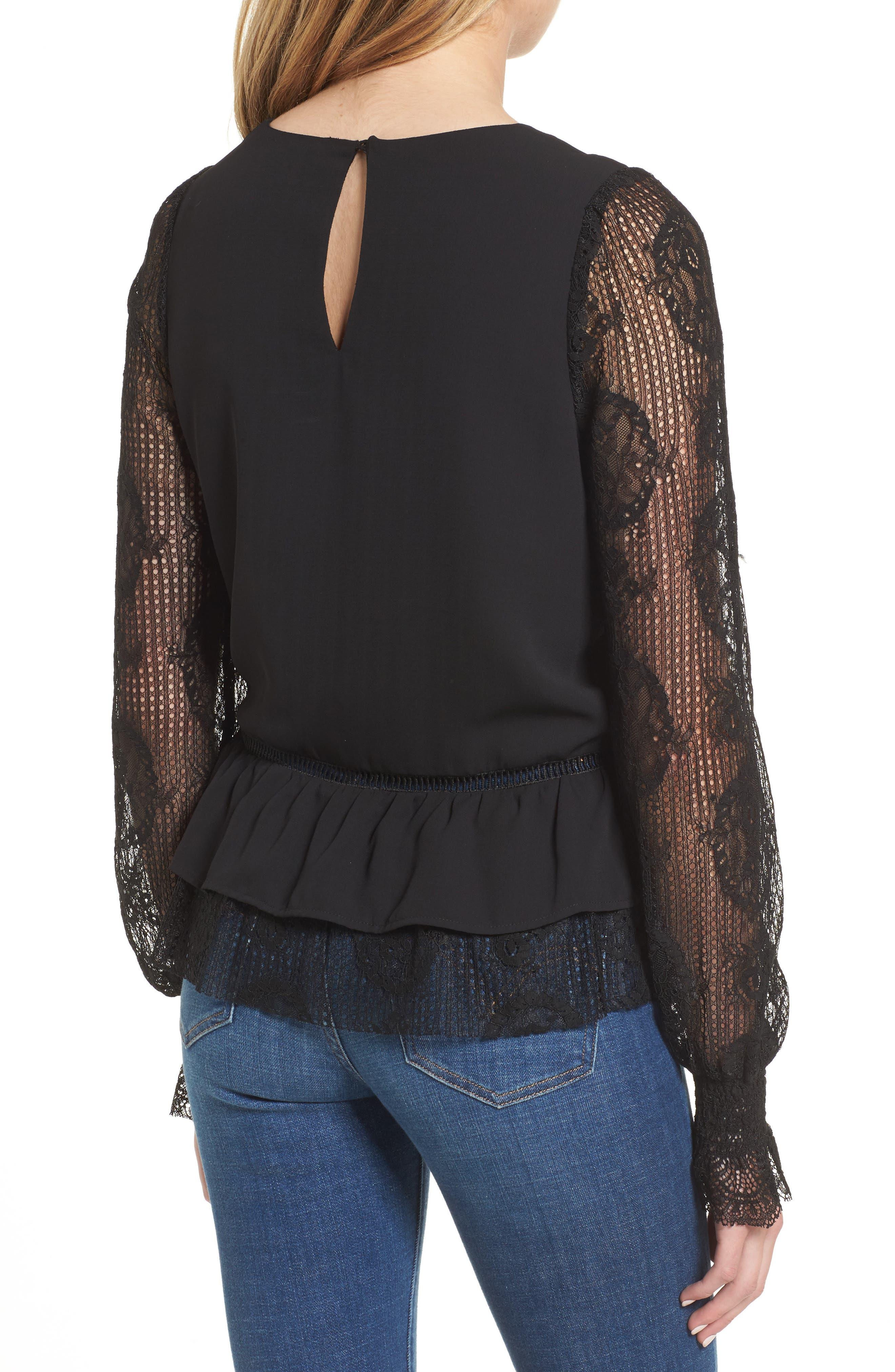 Alternate Image 2  - MOON RIVER Ruffle Hem Lace Sleeve Top