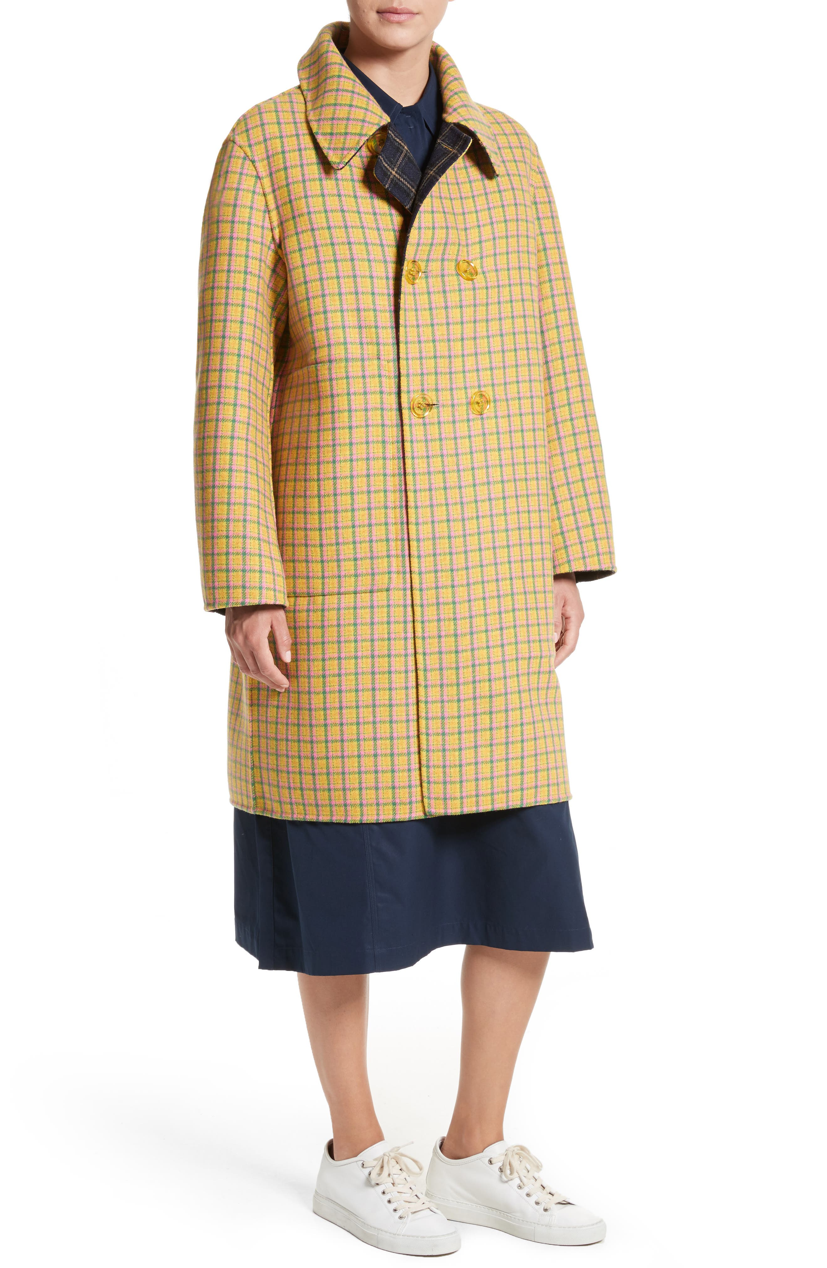 Alternate Image 2  - Sofie D'Hoore Plaid Wool Blend Car Coat