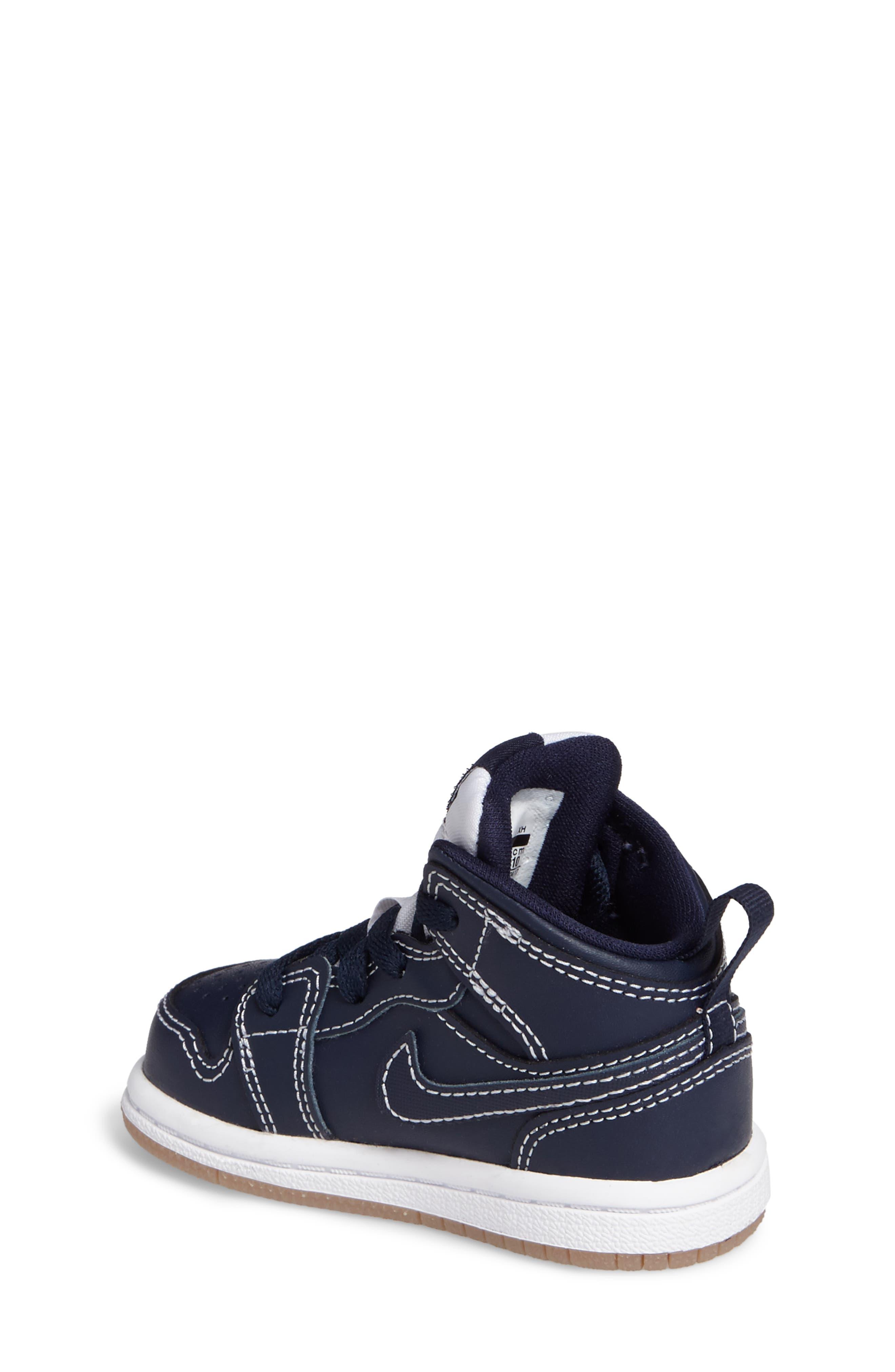 Alternate Image 2  - Nike 'Air Jordan 1' Mid Sneaker (Baby, Walker & Toddler)
