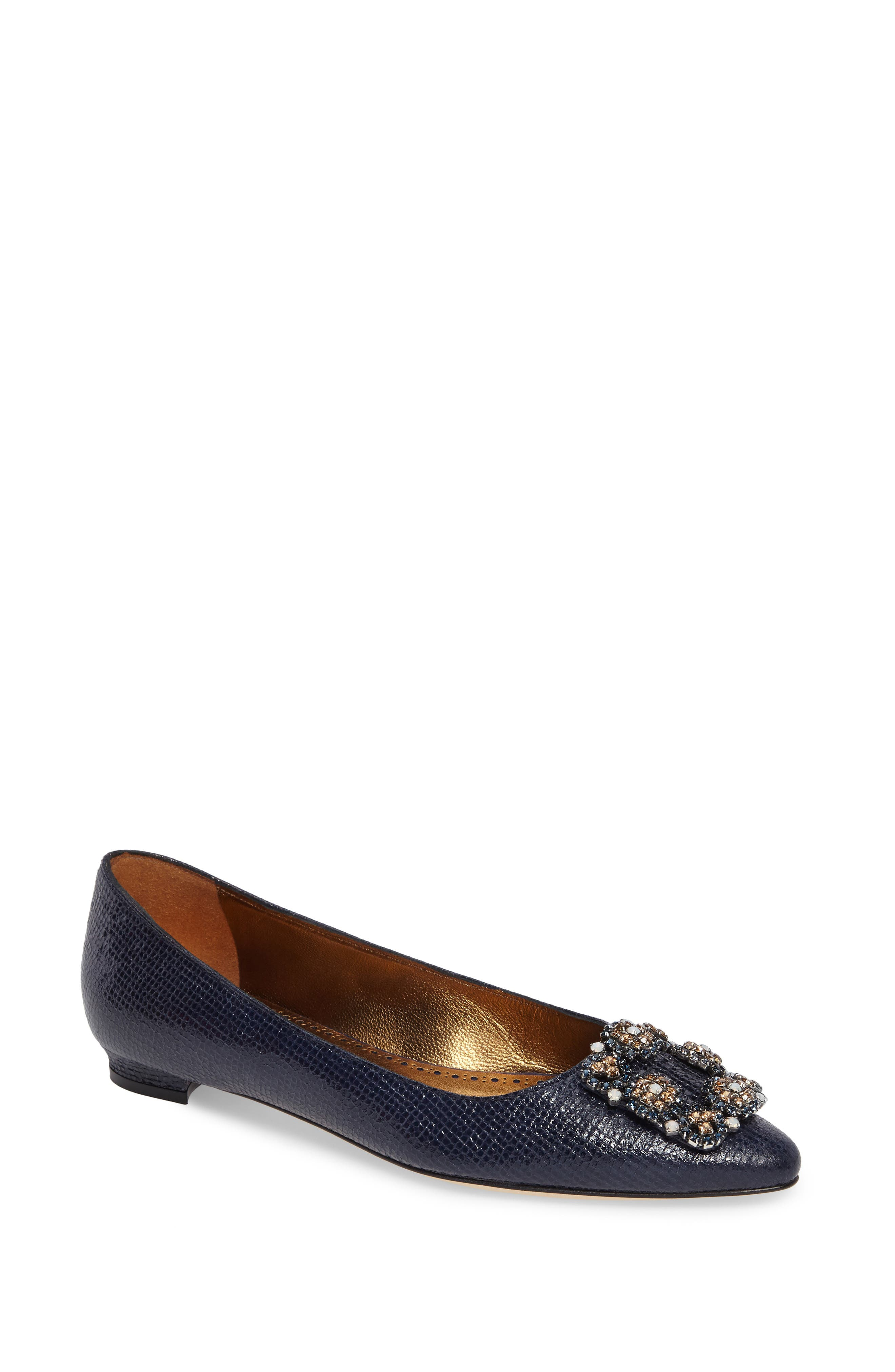 Manolo Blahnik Hangisi Embellished Pointy Toe Flat (Women)