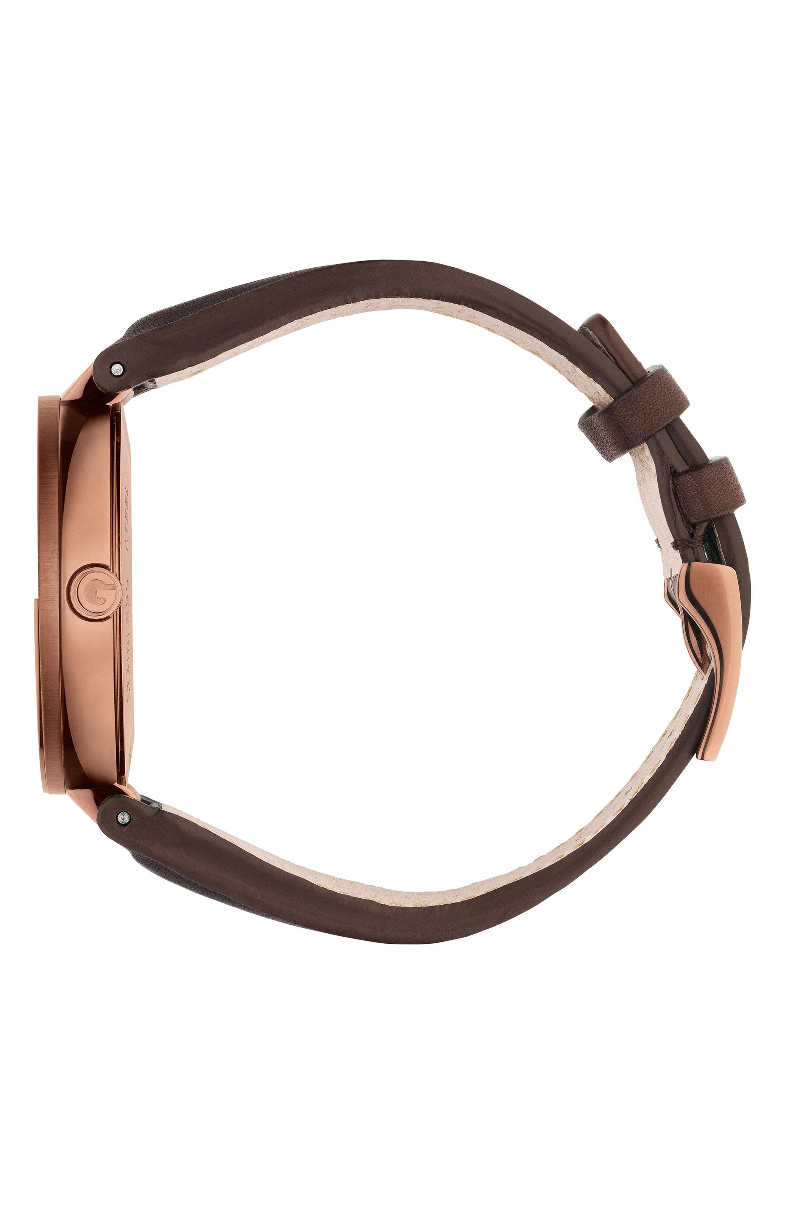 Interlocking Leather Strap Watch, 42mm,                             Alternate thumbnail 3, color,                             Brown