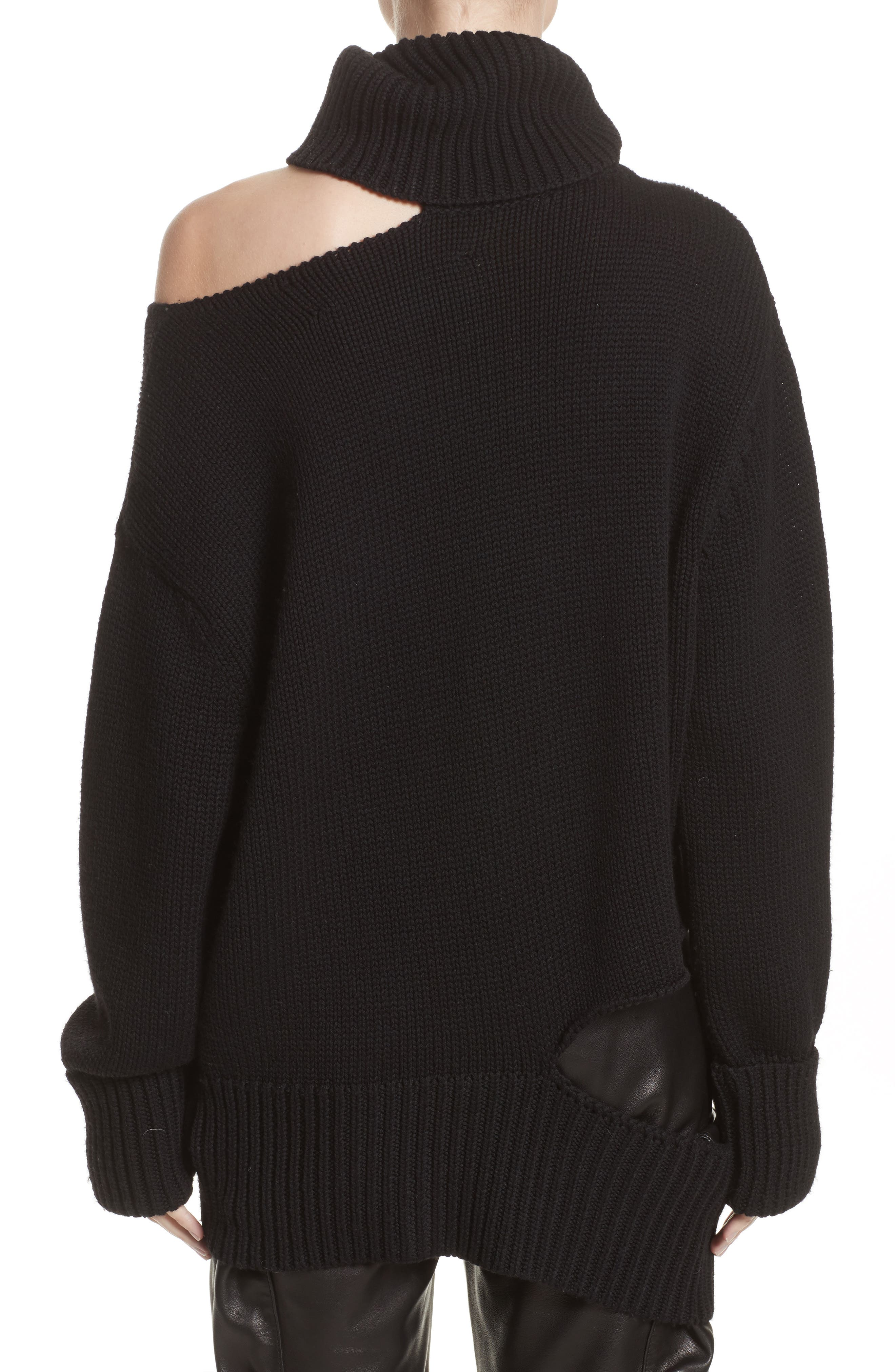 Asymmetrical Cutout Turtleneck Sweater,                             Alternate thumbnail 2, color,                             Black