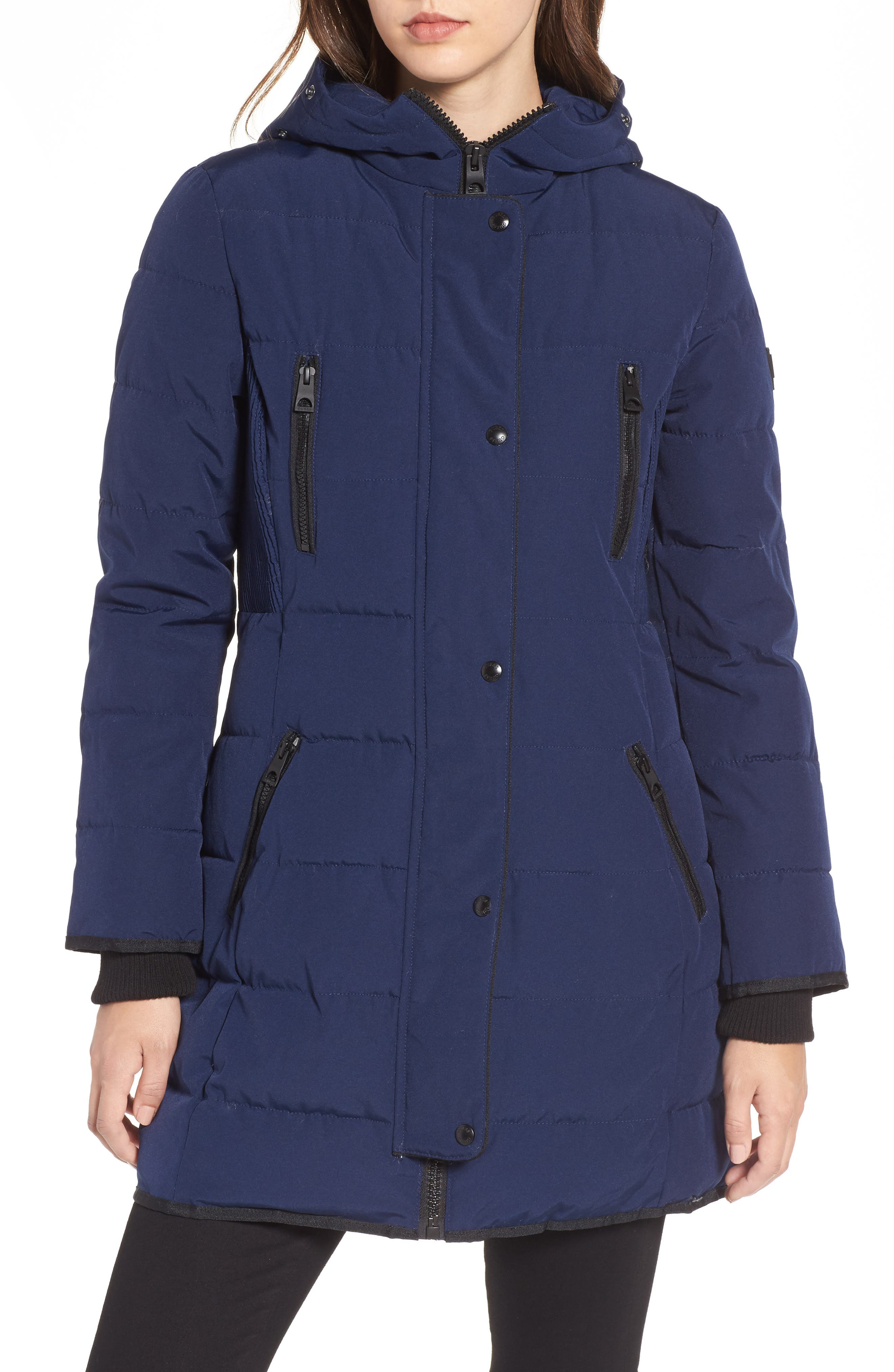Hooded Jacket with Faux Fur Trim,                             Alternate thumbnail 4, color,                             Navy